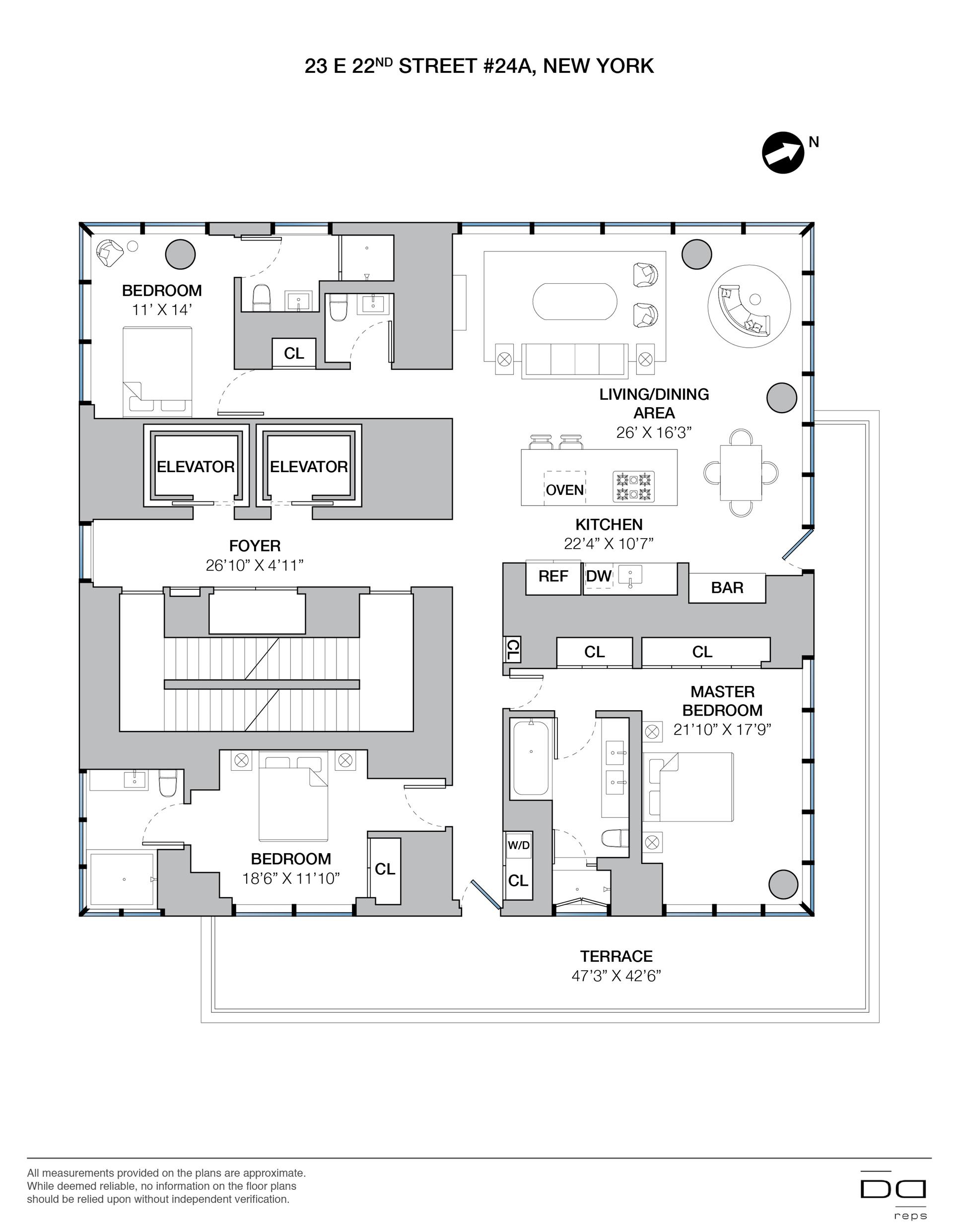 Floor plan of One Madison, 23 East 22nd St, 24A - Flatiron District, New York