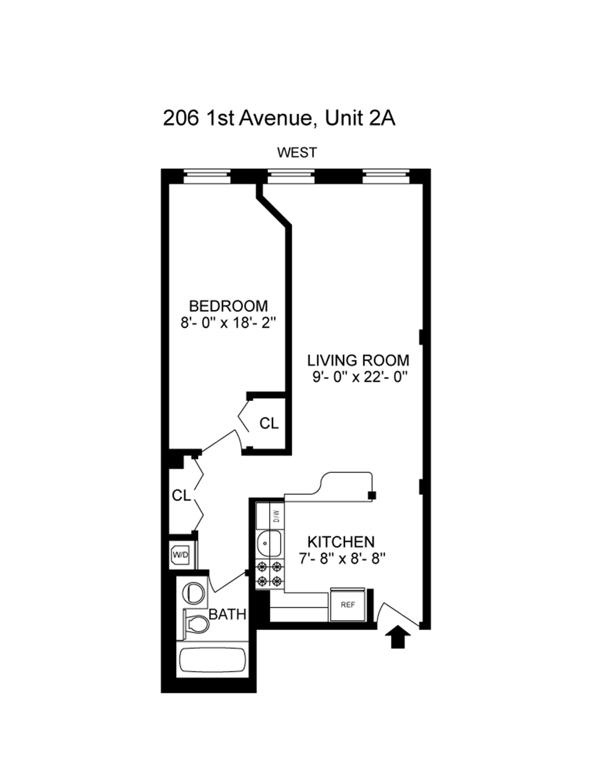 Floor plan of 206 First Avenue, 2A - East Village, New York