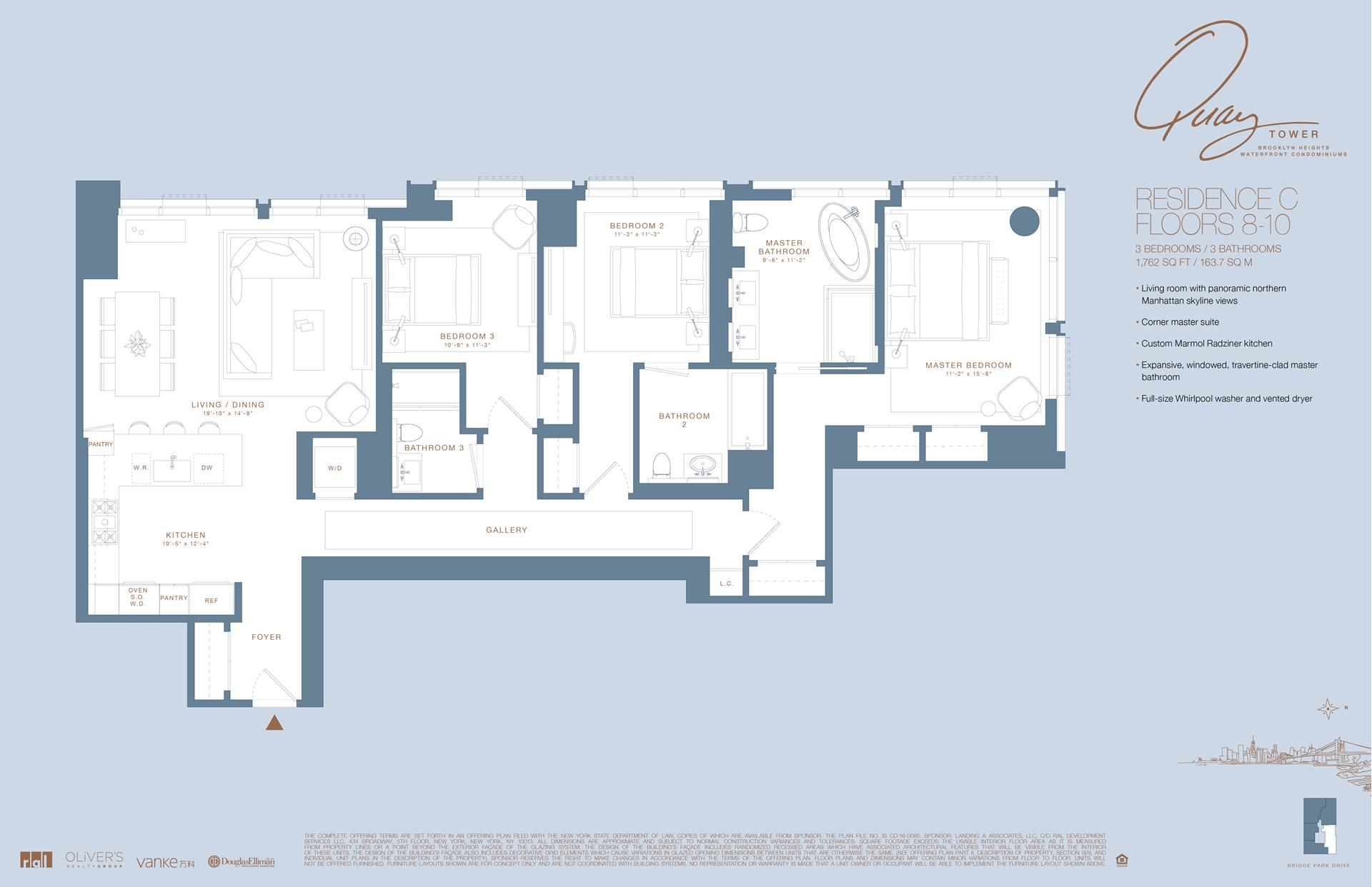 Floor plan of 50 Bridge Park Drive, 8C - Brooklyn Heights, New York