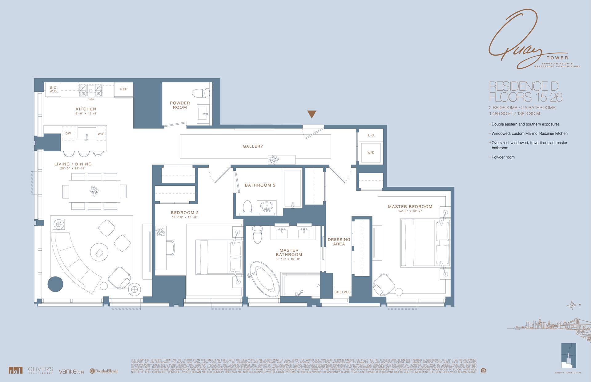 Floor plan of 50 Bridge Park Drive, 15D - Brooklyn Heights, New York