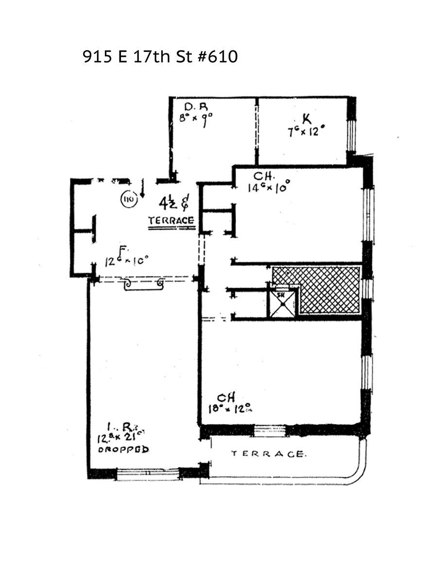 Floor plan of 915 East 17th Street, 610