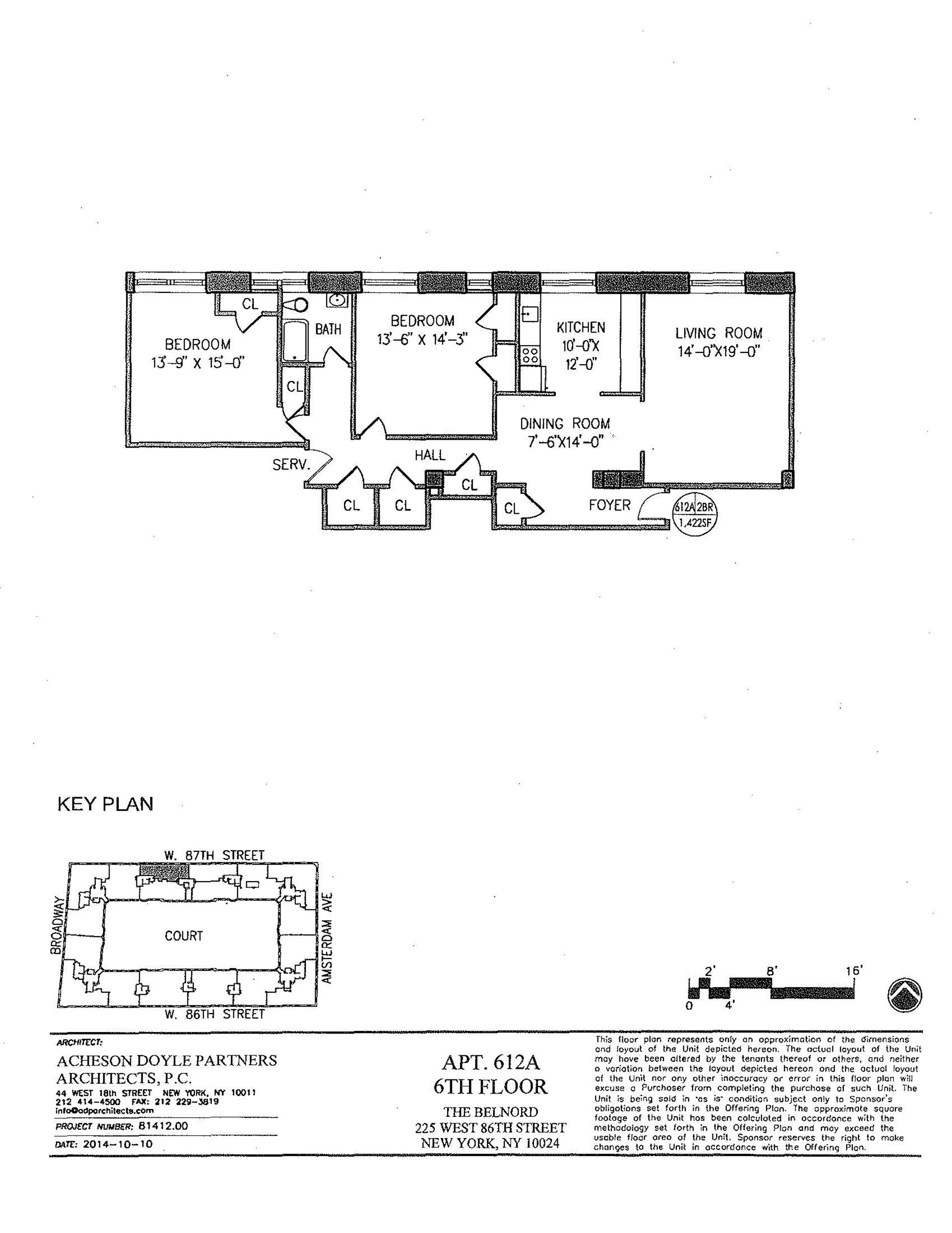 Floor plan of The Belnord, 225 West 86th St, 612A - Upper West Side, New York