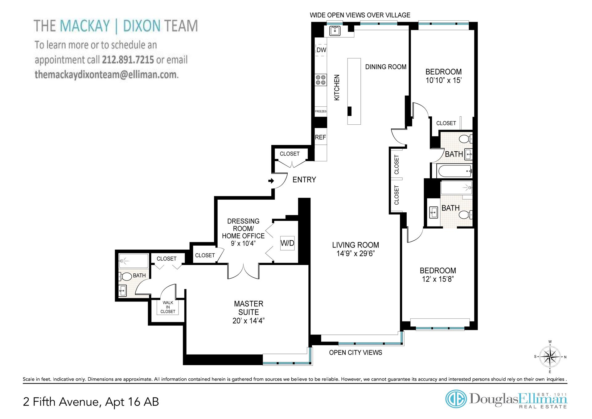 Floor plan of 2 Fifth Avenue, 16AB - Greenwich Village, New York