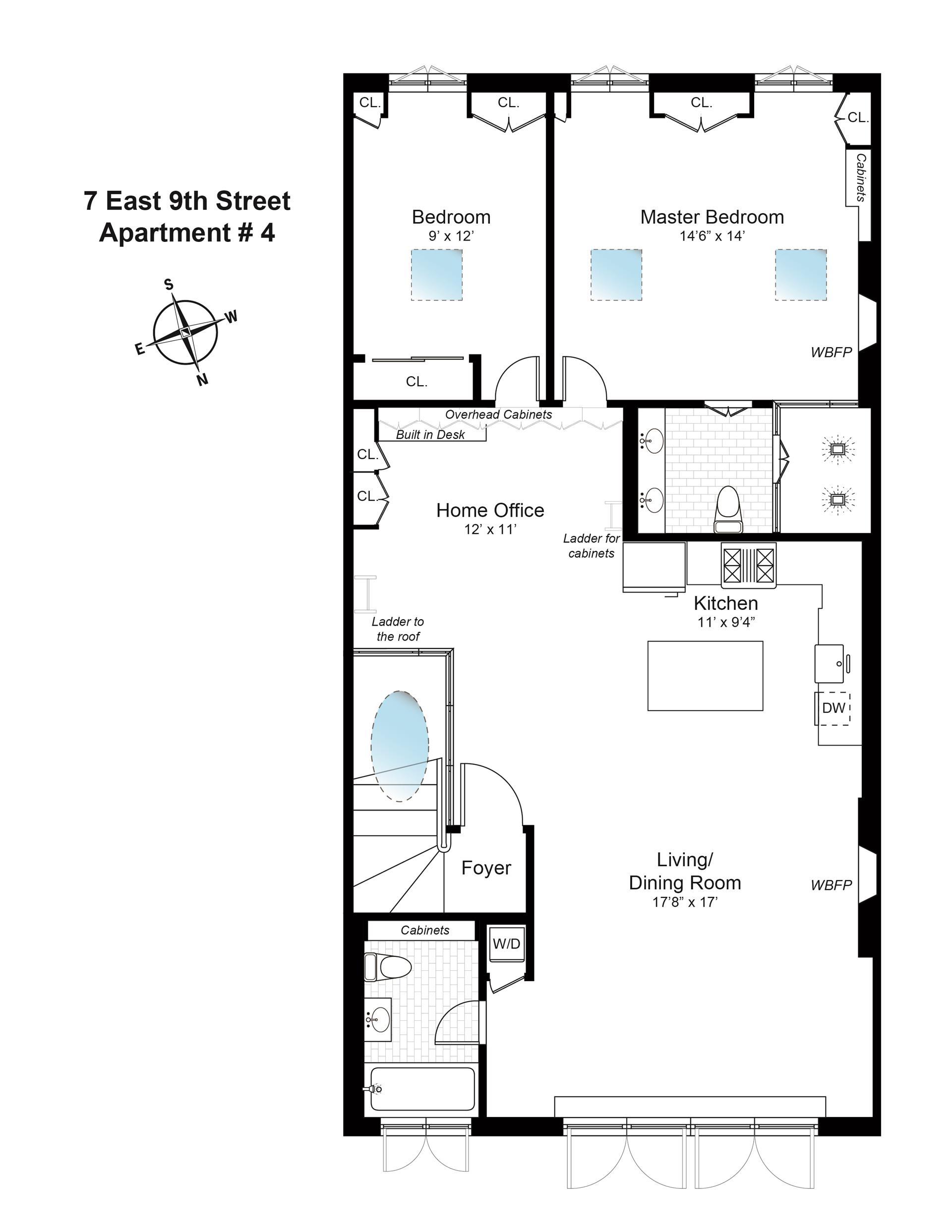 Floor plan of 7 East 9th St, 4 - Greenwich Village, New York