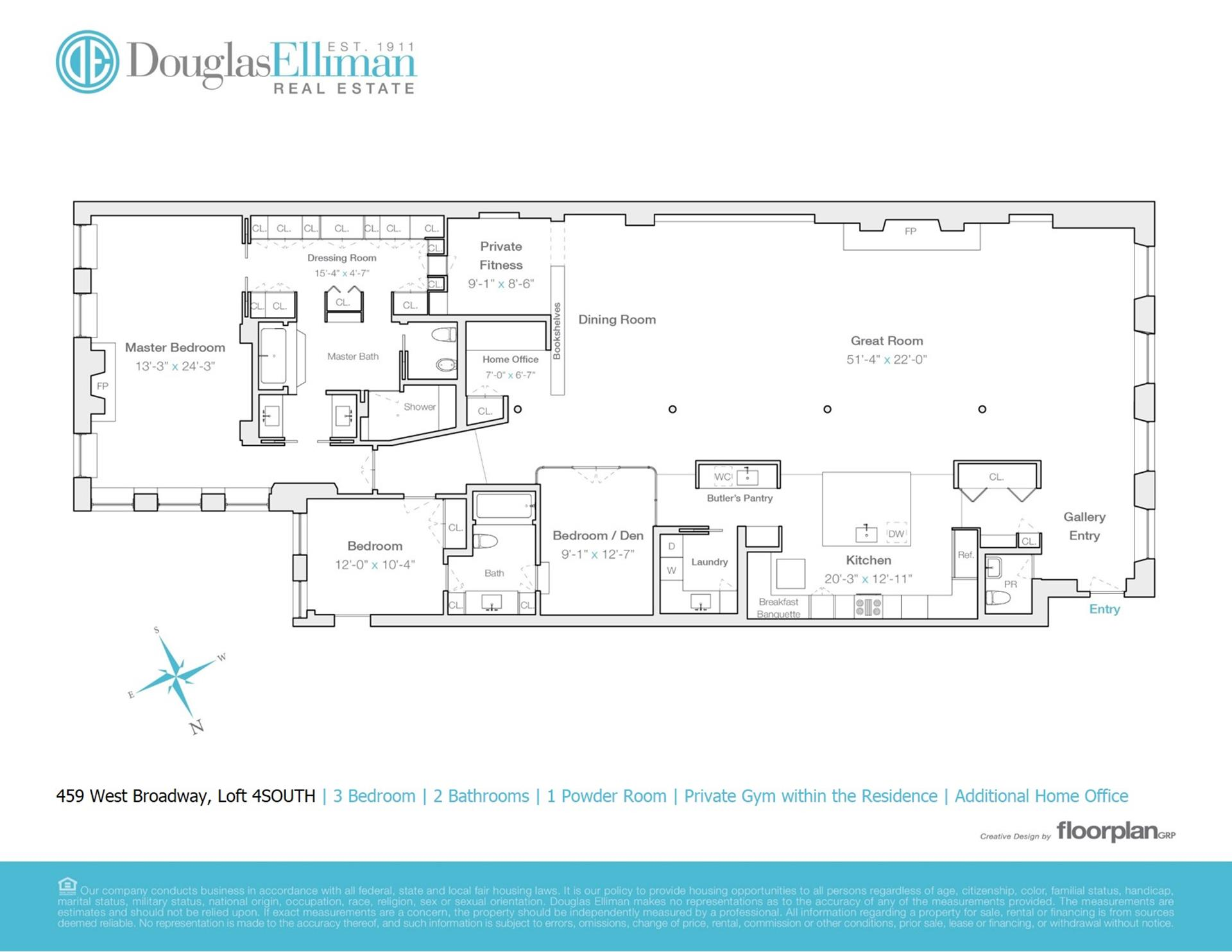 Floor plan of 459 West Broadway, 4S - SoHo - Nolita, New York