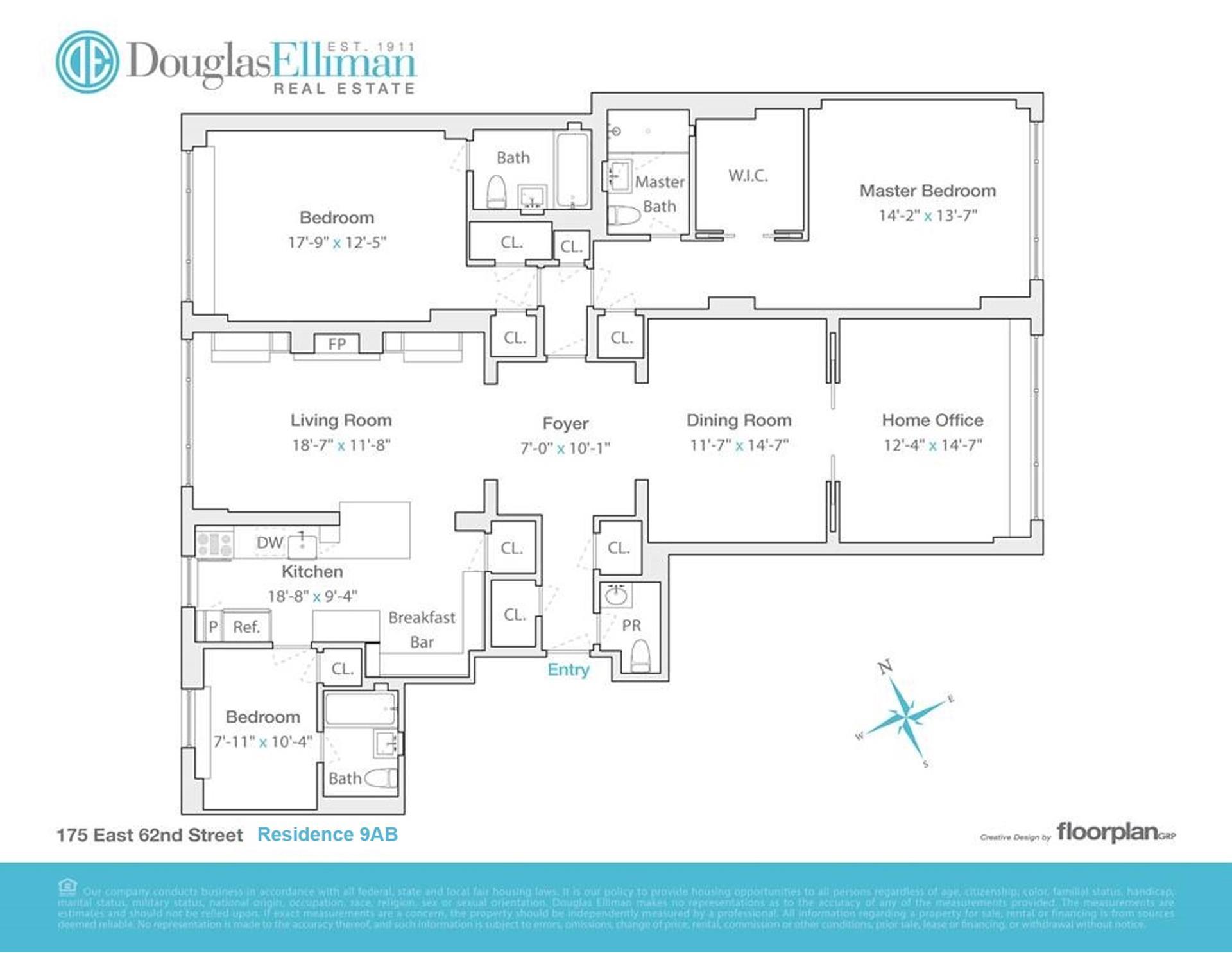 Floor plan of 175 East 62nd St, 9AB - Upper East Side, New York