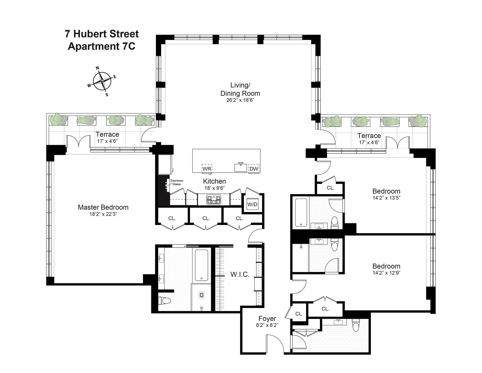 Floor plan of The Hubert, 7 Hubert St, 7C - TriBeCa, New York