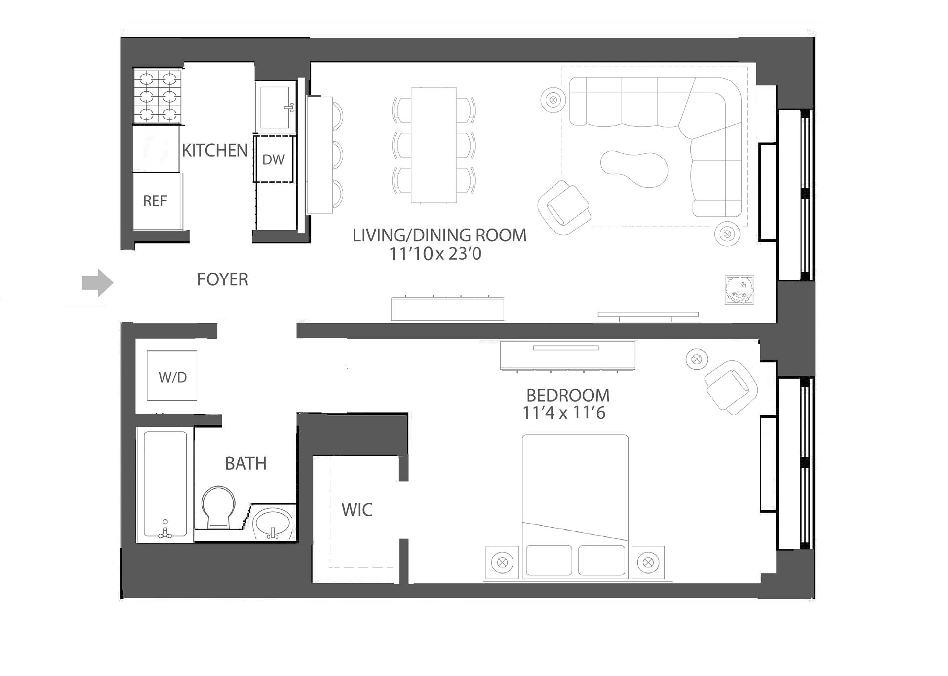Floor plan of 120 East 87th St, R6E - Carnegie Hill, New York
