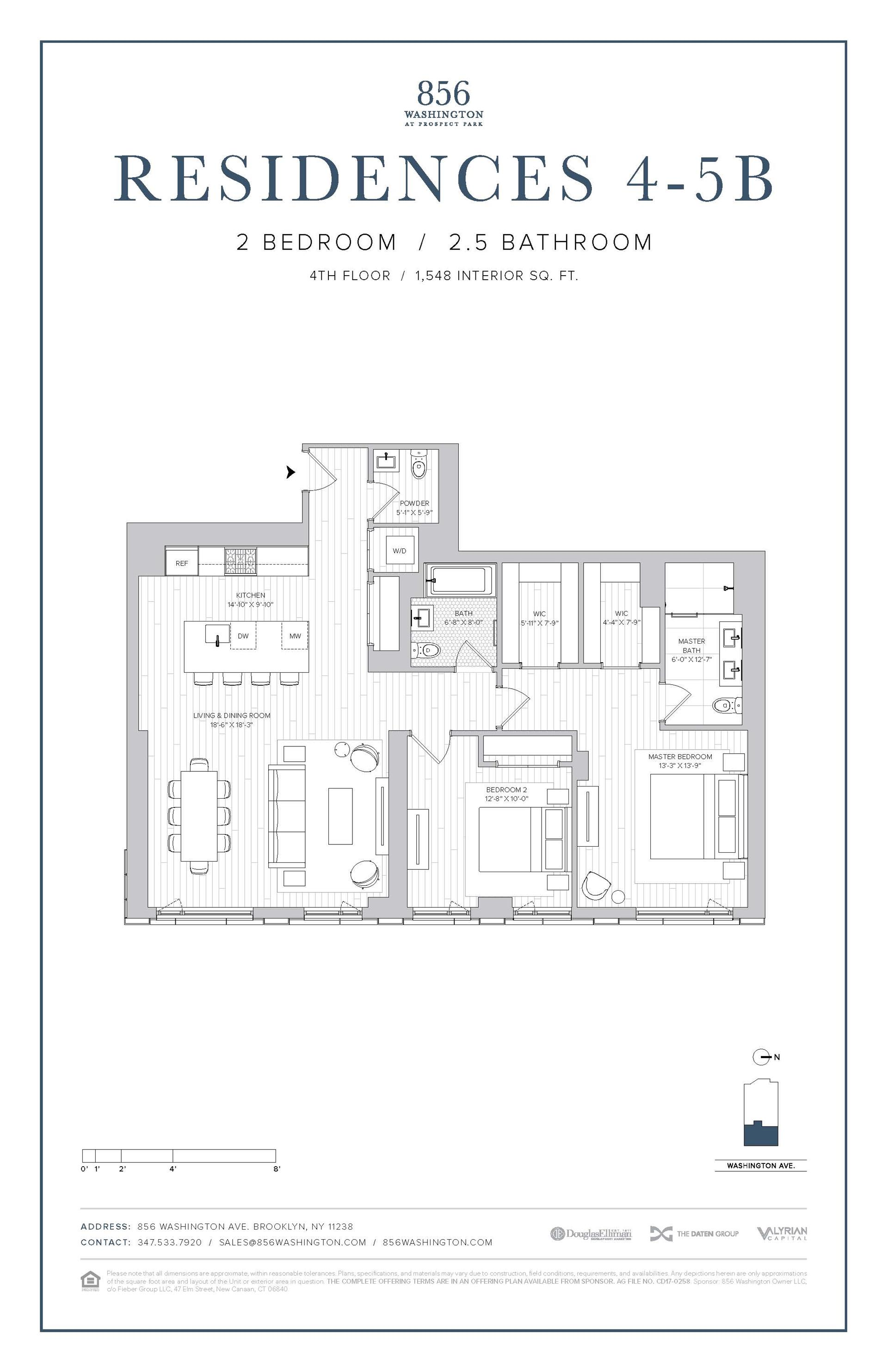 Floor plan of 856 Washington Avenue, 4B - Prospect Heights, New York