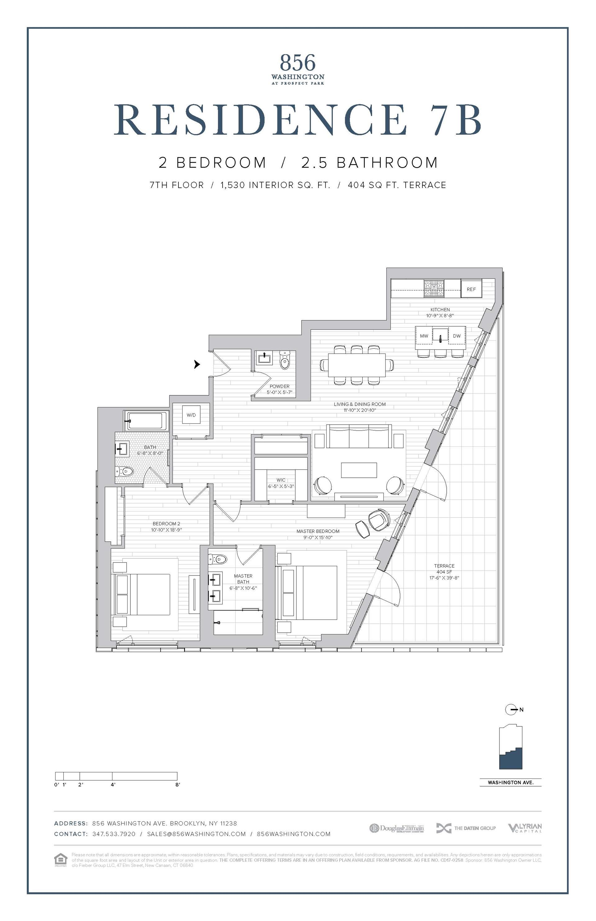 Floor plan of 856 Washington Avenue, 7B - Prospect Heights, New York