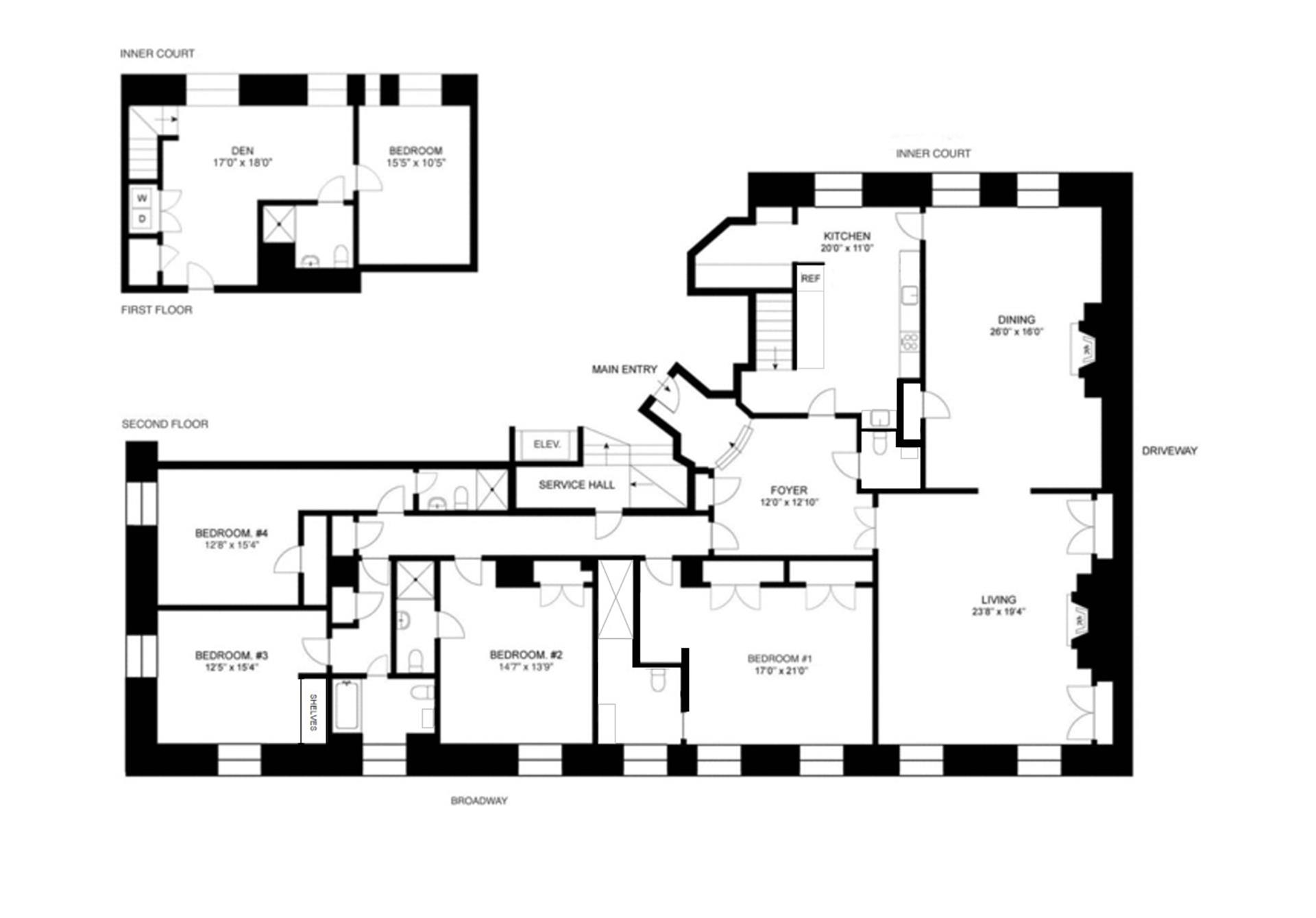 Floor plan of The Apthorp, 390 West End Avenue, 2A - Upper West Side, New York