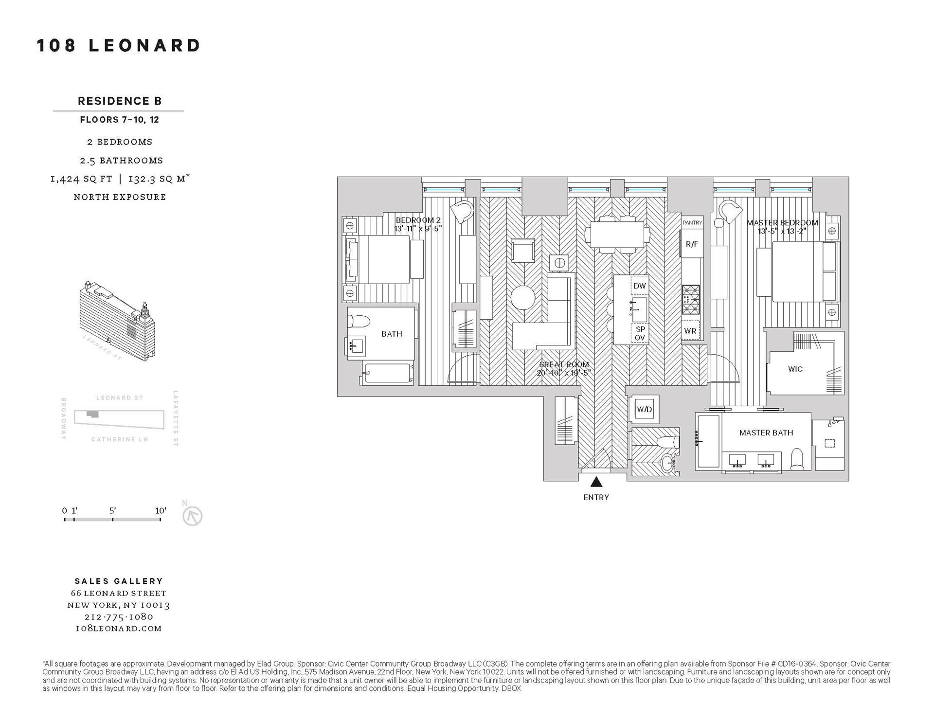 Floor plan of 108 Leonard St, 7B - TriBeCa, New York
