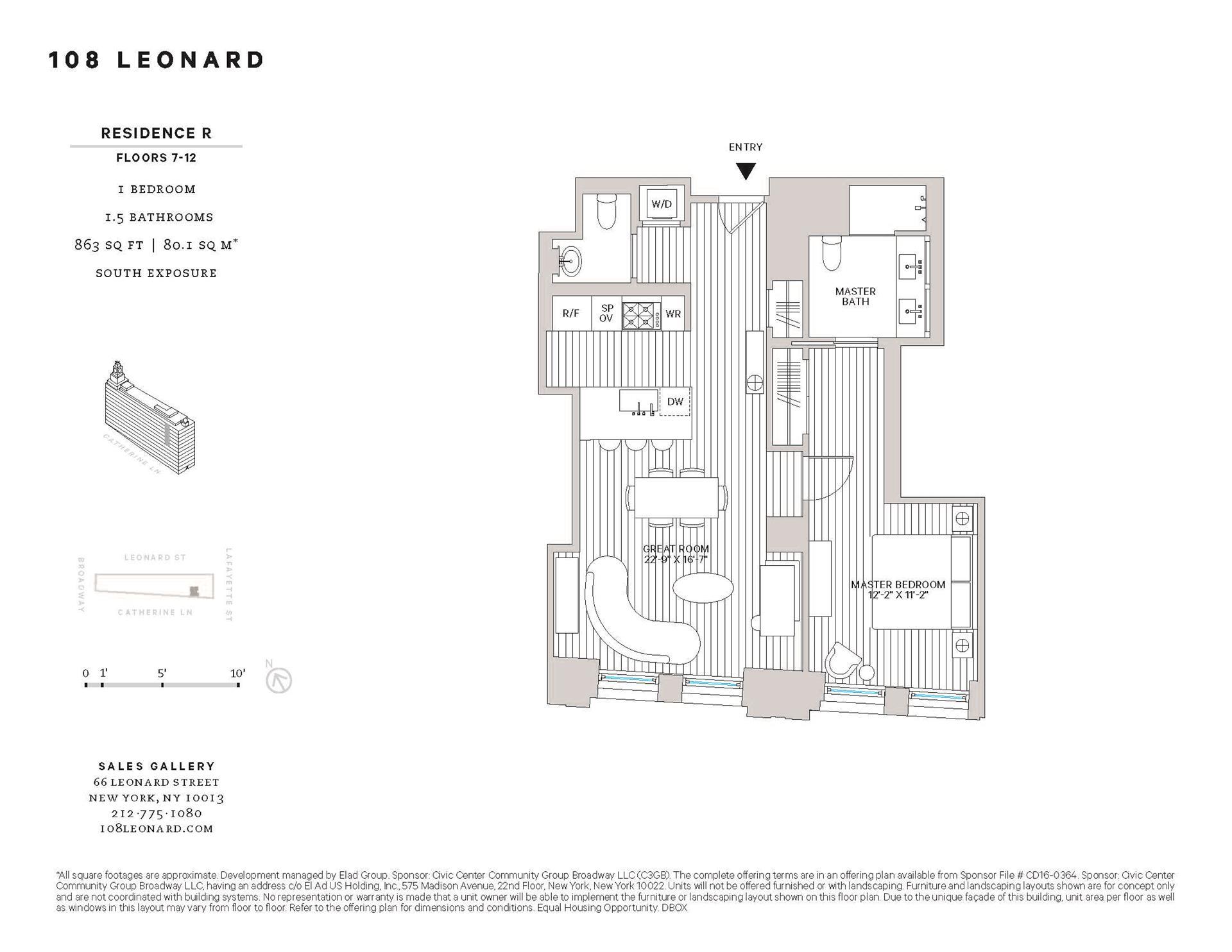 Floor plan of 108 Leonard St, 9R - TriBeCa, New York