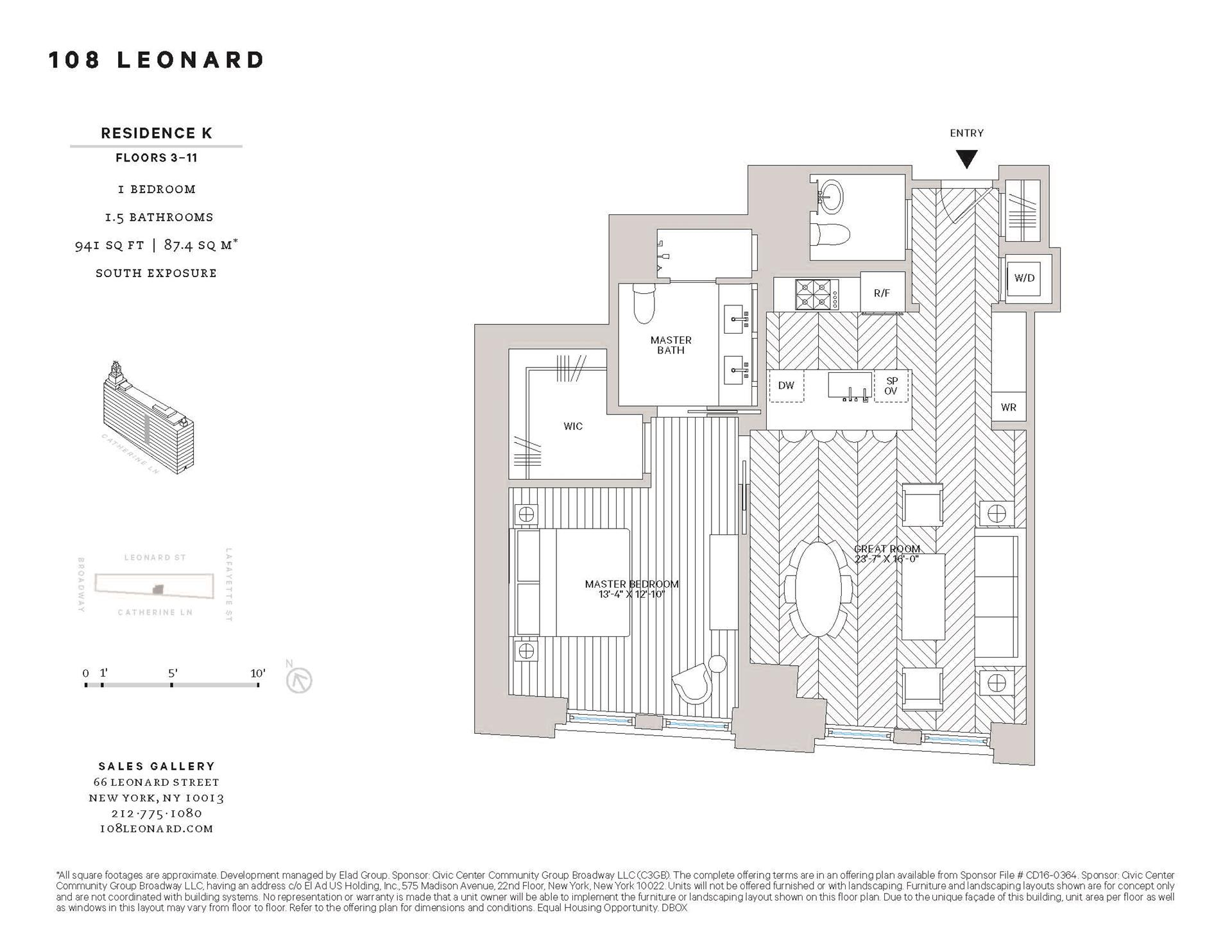 Floor plan of 108 Leonard St, 9K - TriBeCa, New York