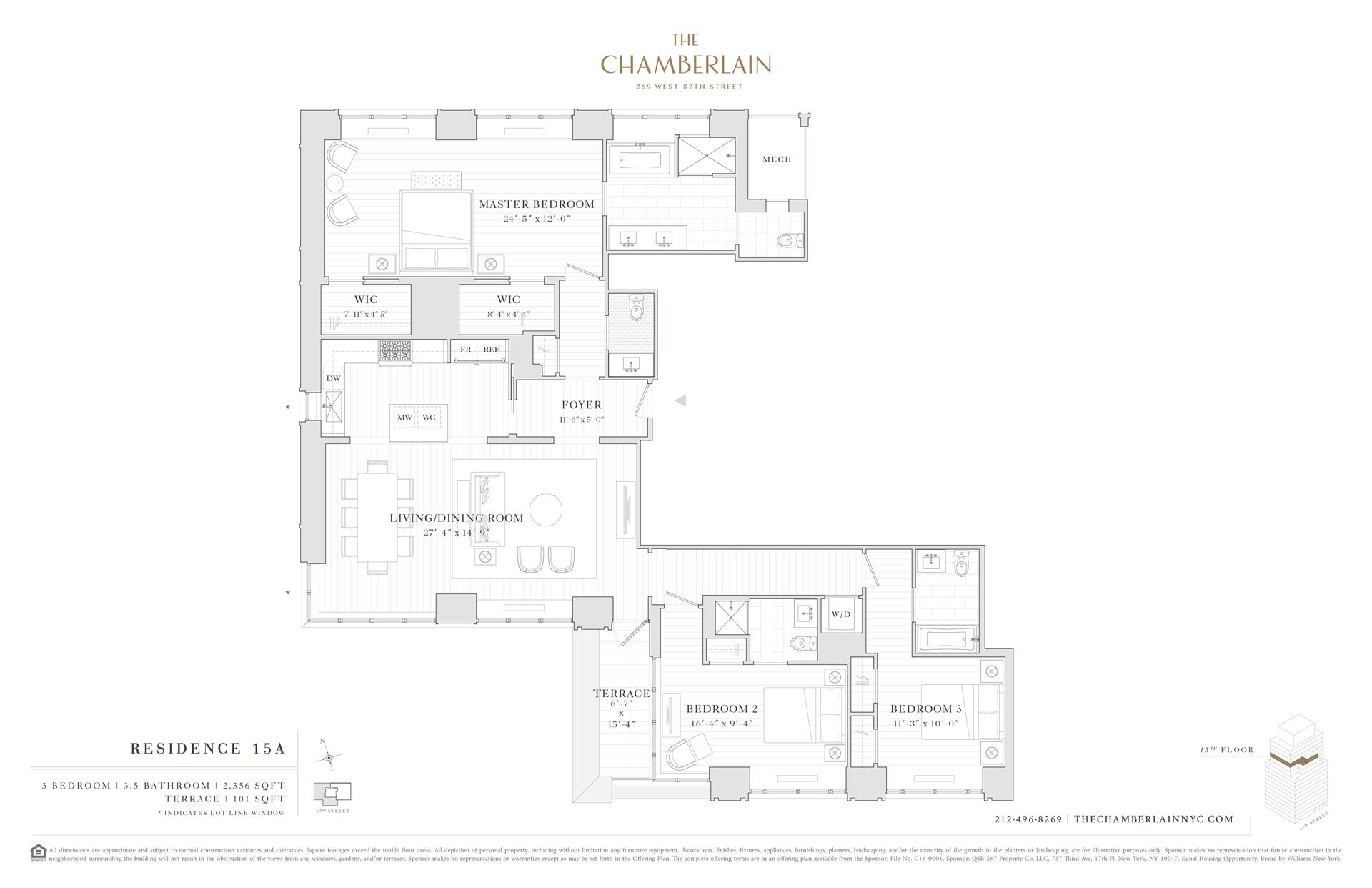 Floor plan of 269 West 87th St, 15A - Upper West Side, New York