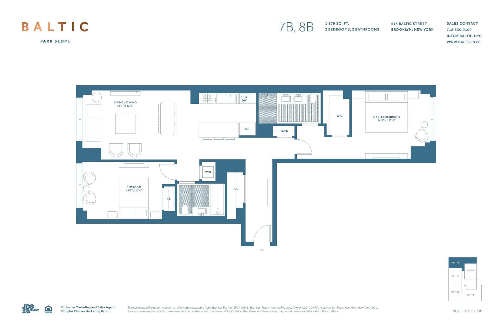 Floor plan of 613 Baltic St, 8B - Park Slope, New York