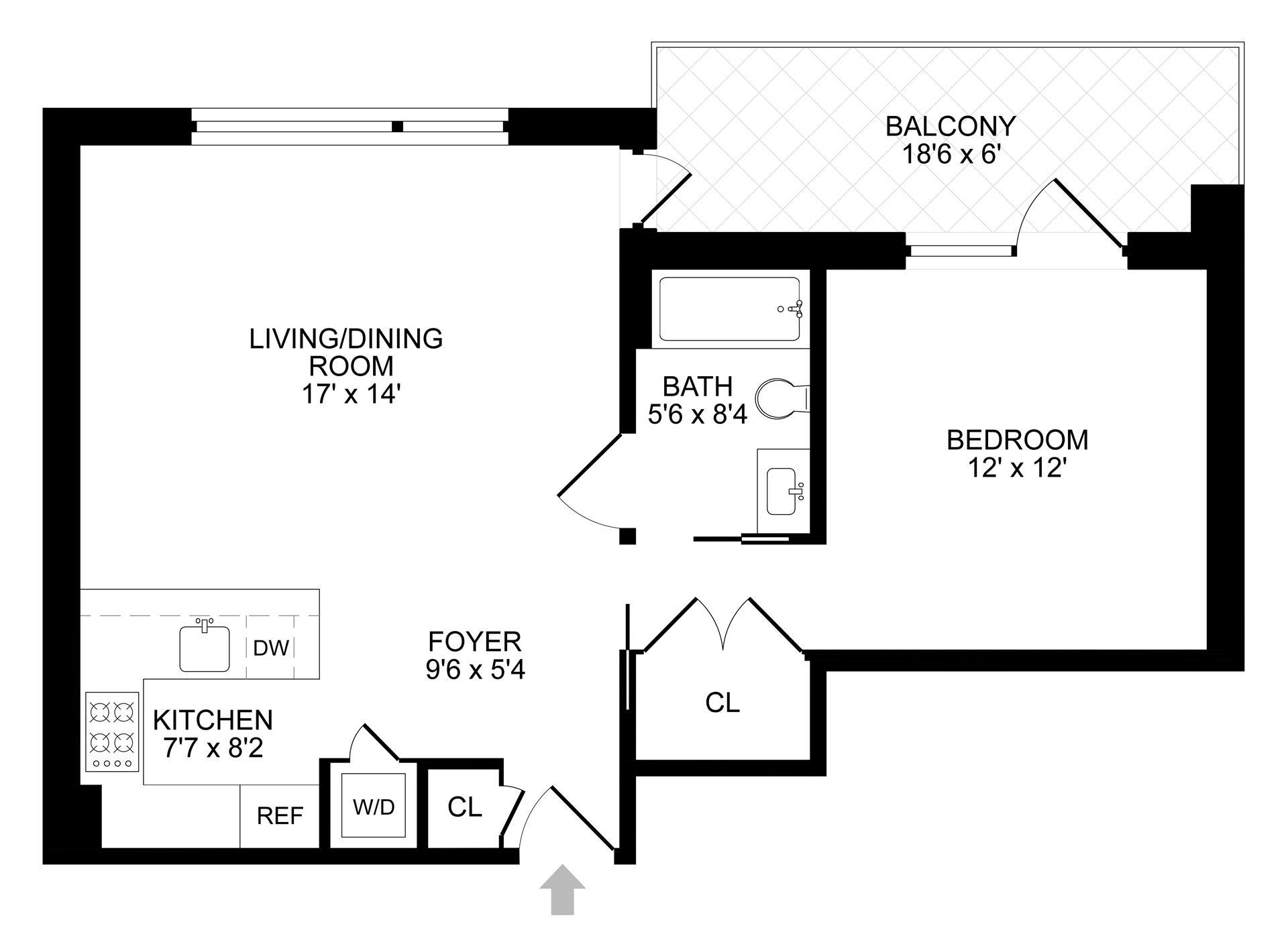 Floor plan of 299 Van Buren St, 2B - Bedford - Stuyvesant, New York