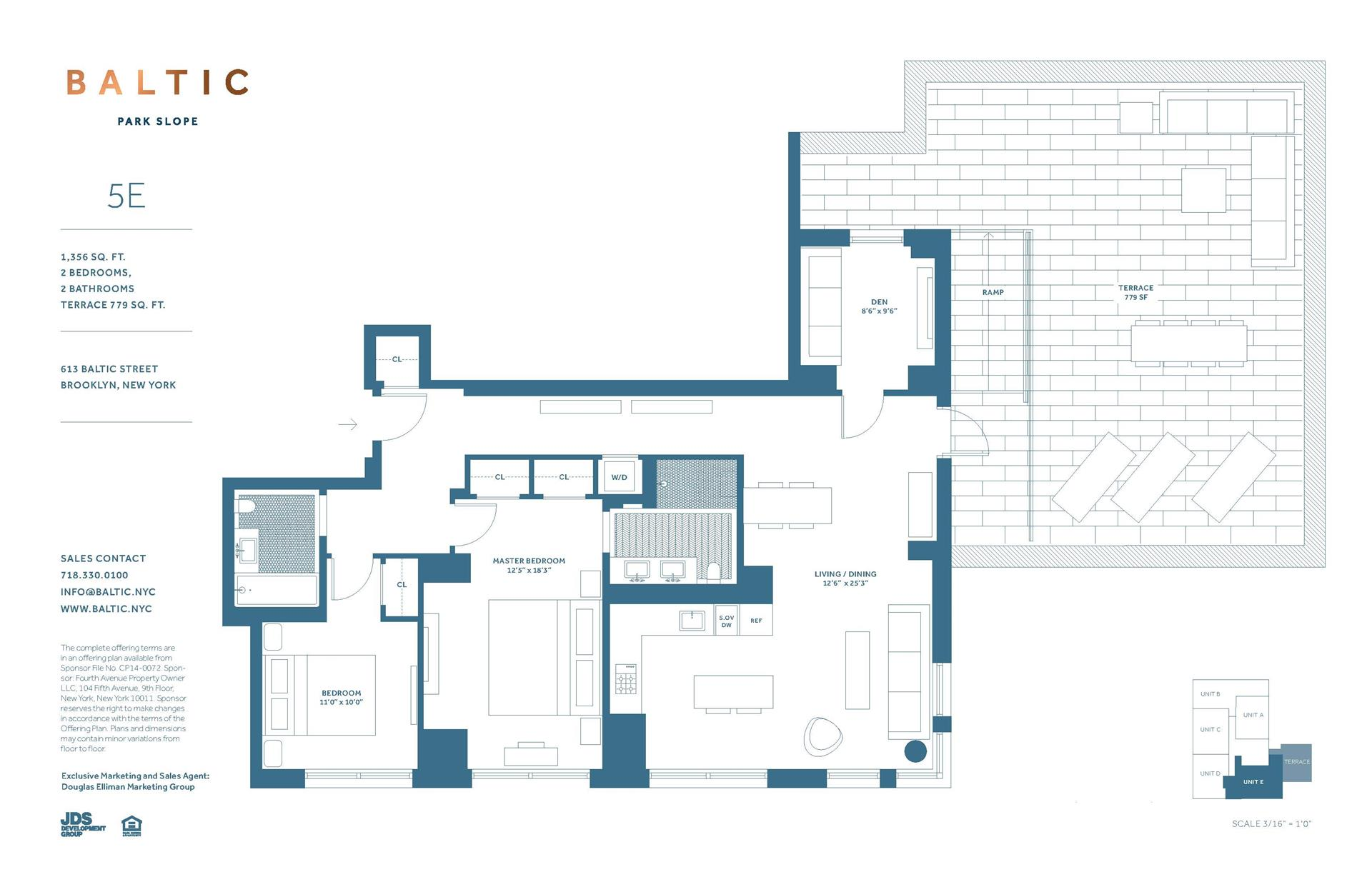 Floor plan of 613 Baltic St, 5E - Park Slope, New York