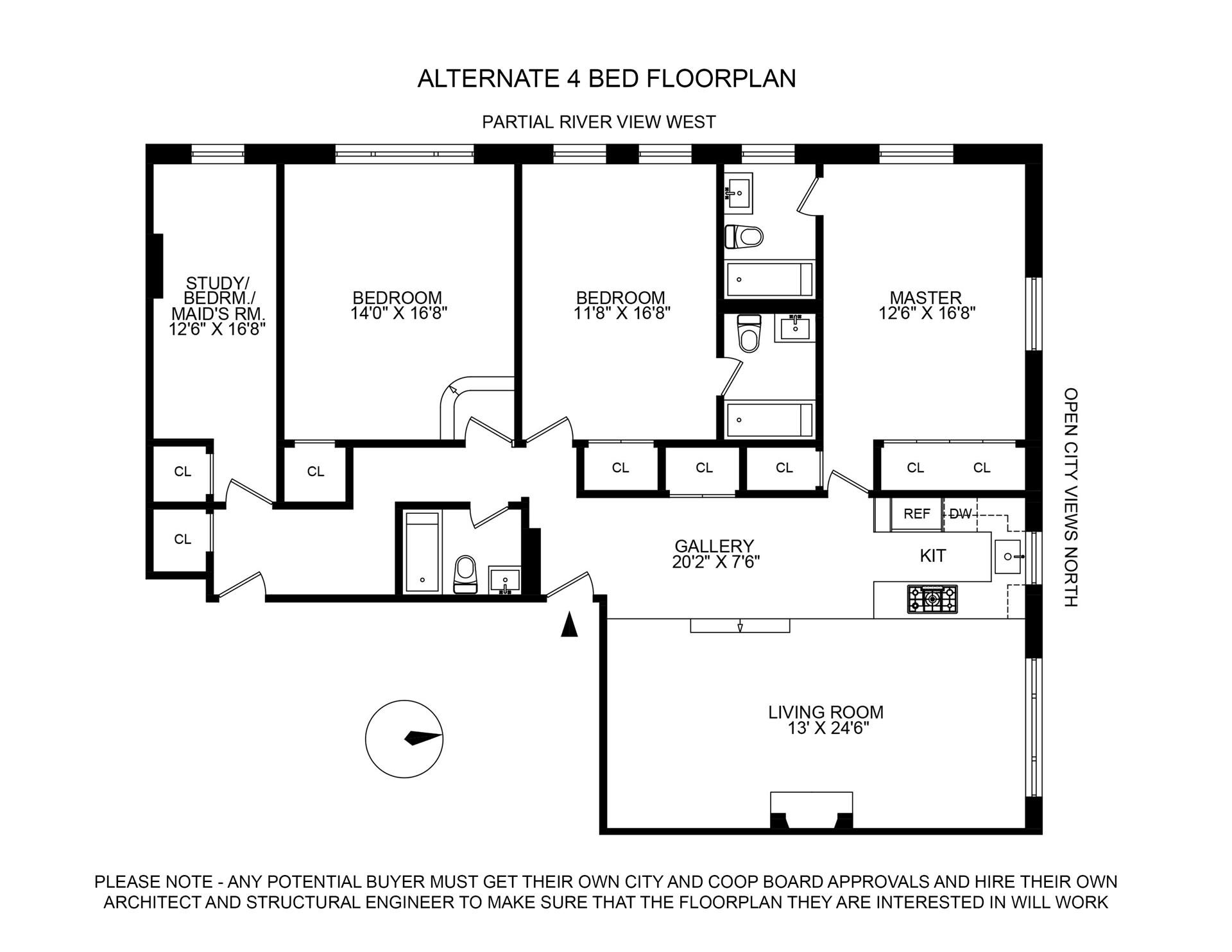 Floor plan of 336 West End Avenue, 16BC - Upper West Side, New York