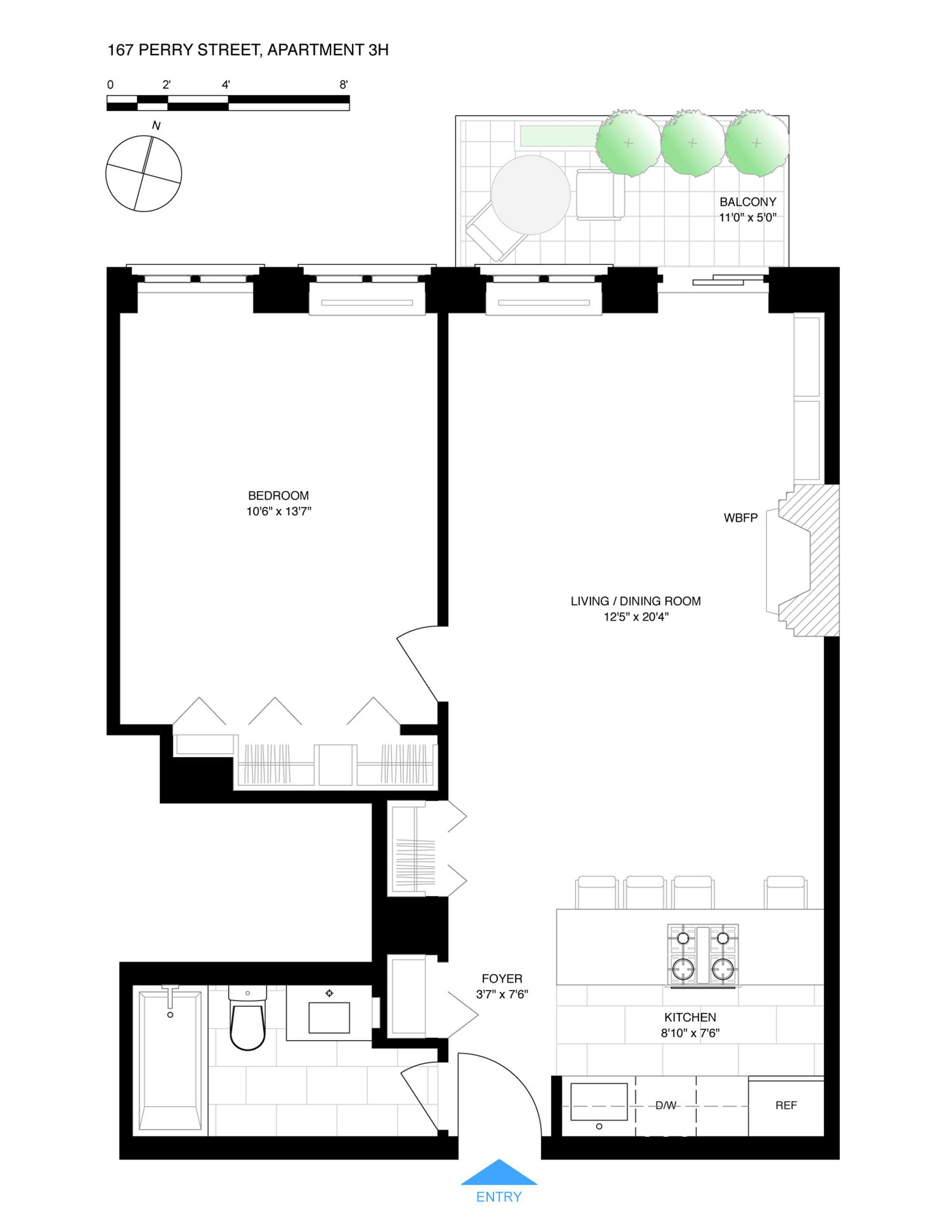Floor plan of Perry + West, 167 Perry St, 3H - West Village - Meatpacking District, New York