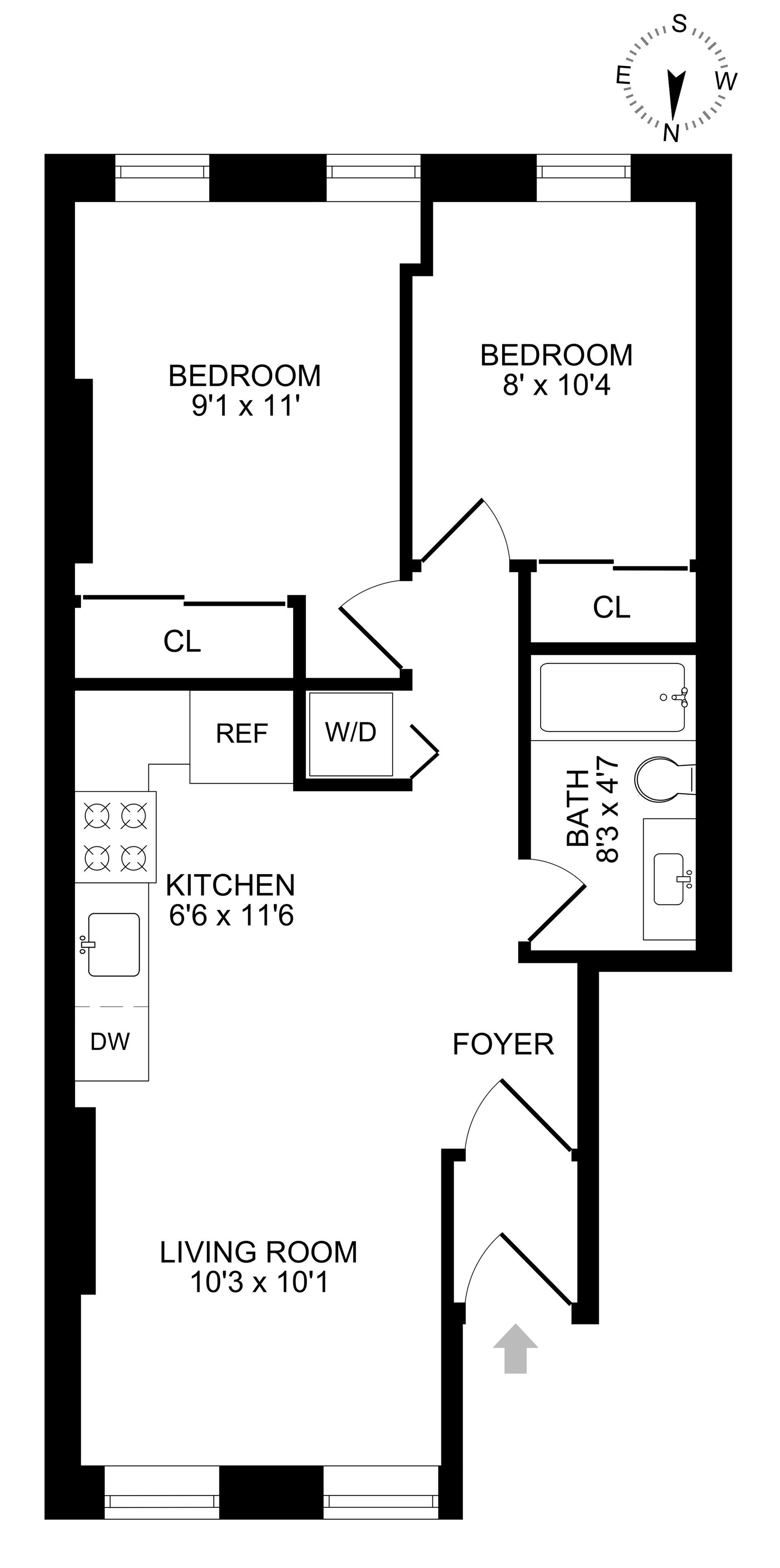Floor plan of 442 Lexington Avenue, 2 - Bedford - Stuyvesant, New York
