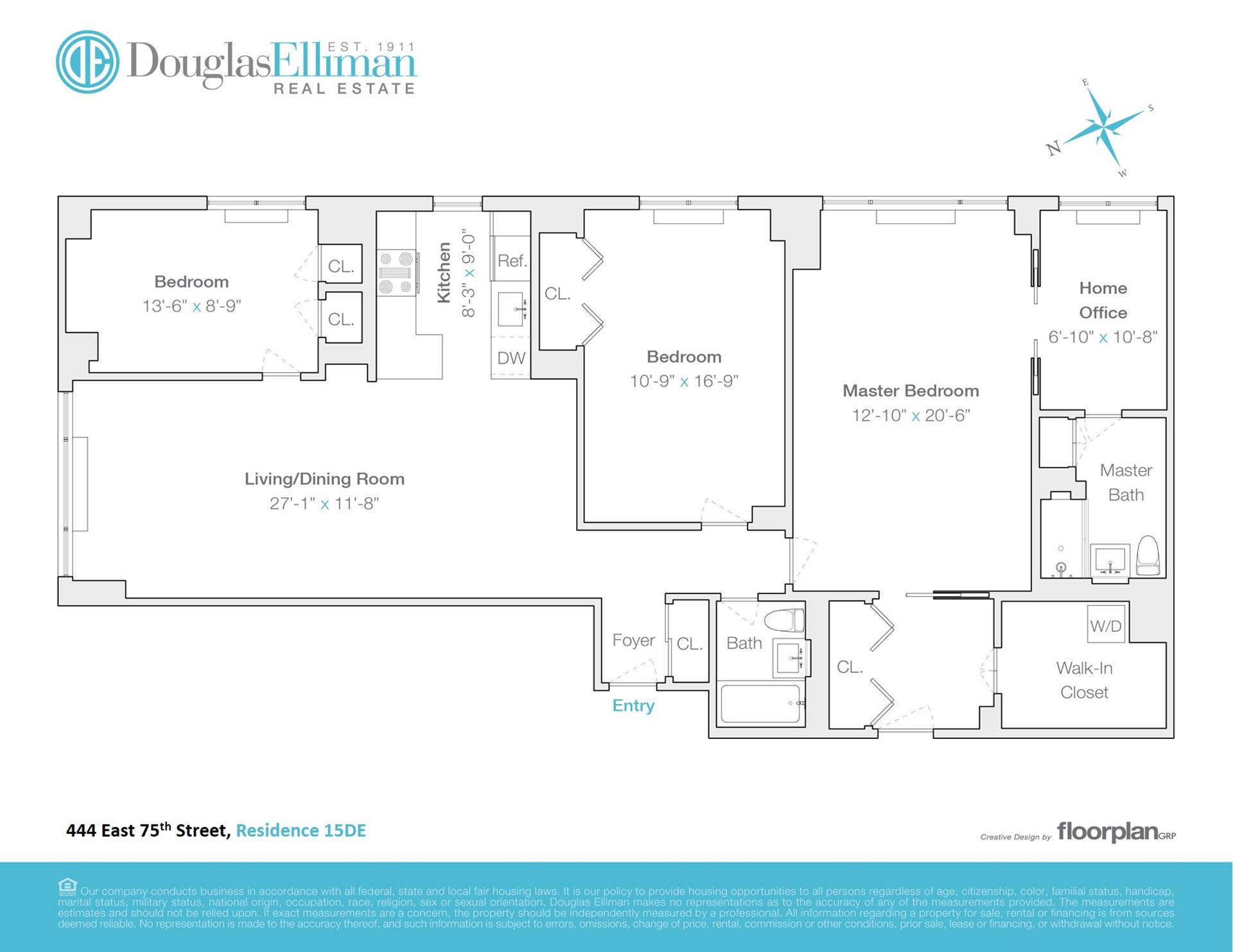 Floor plan of 444 East 75th St, 15DE - Upper East Side, New York