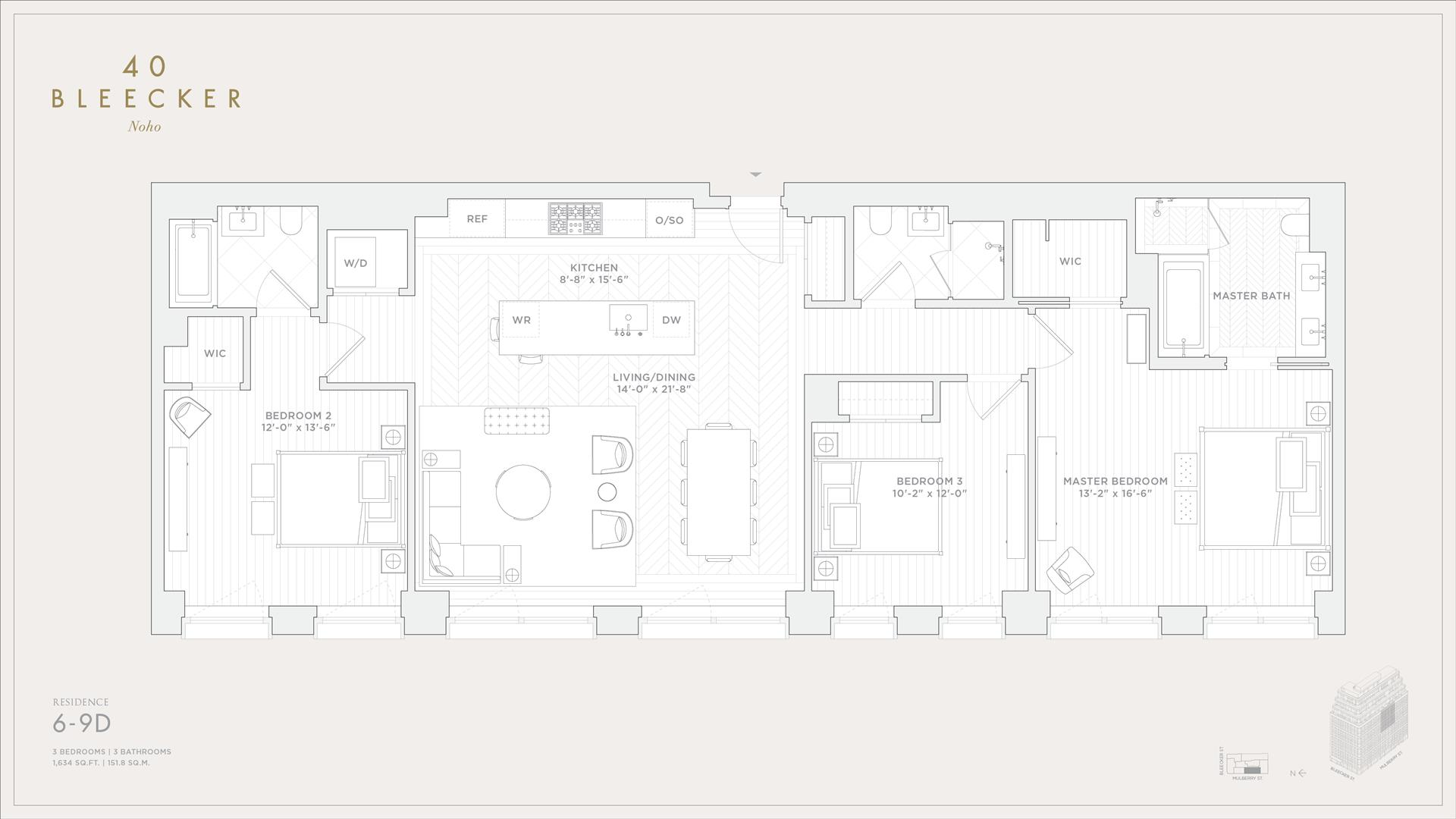Floor plan of 40 Bleecker Street, 9D - NoHo, New York