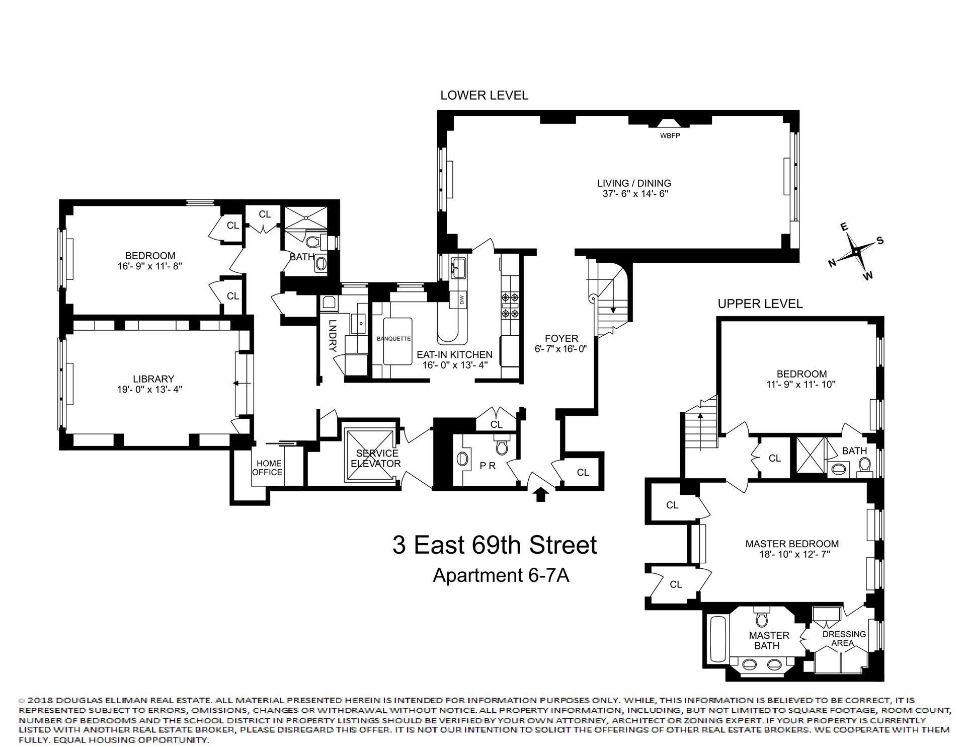 Floor plan of 3 East 69th Street, 6/7A - Upper East Side, New York