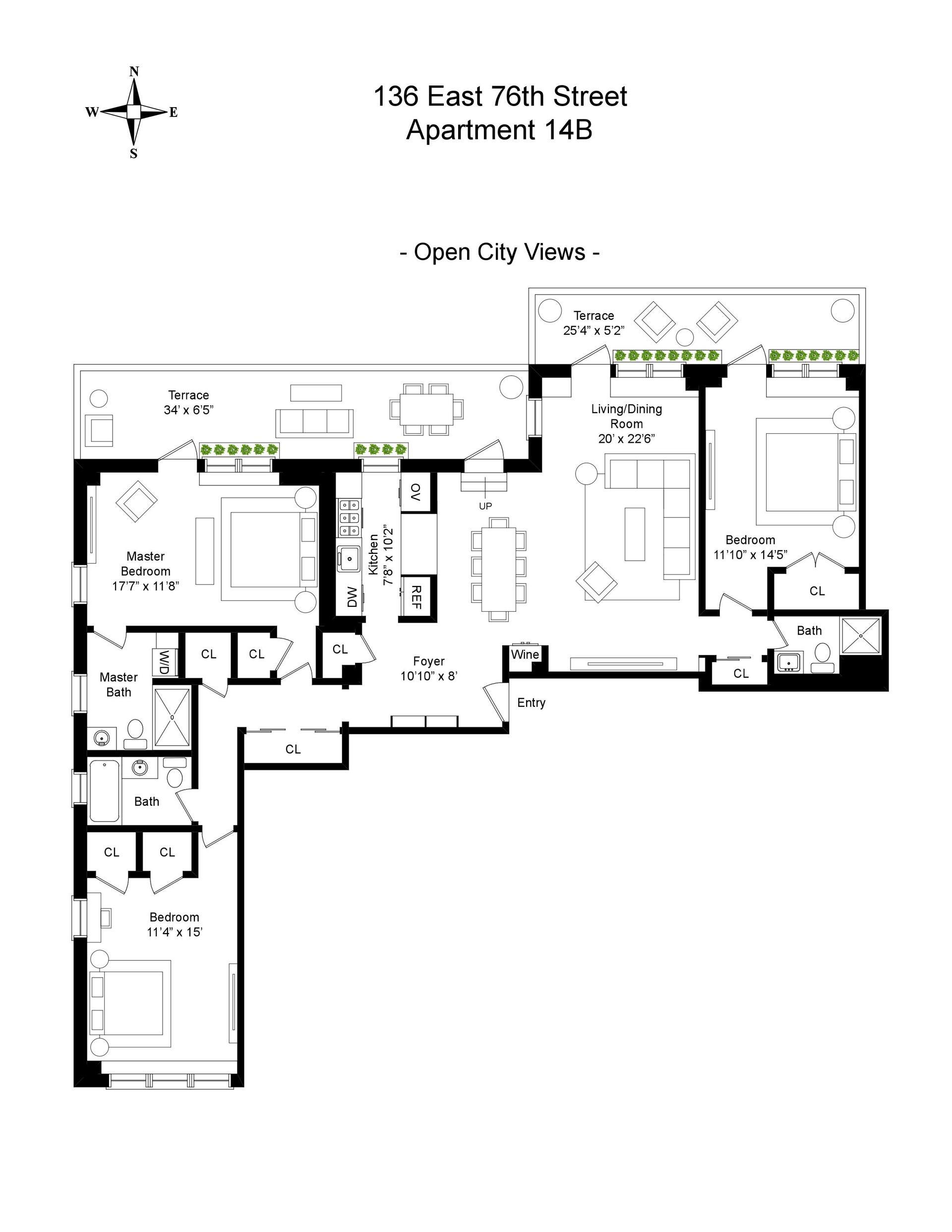 Floor plan of 136 East 76th St, 14B - Upper East Side, New York