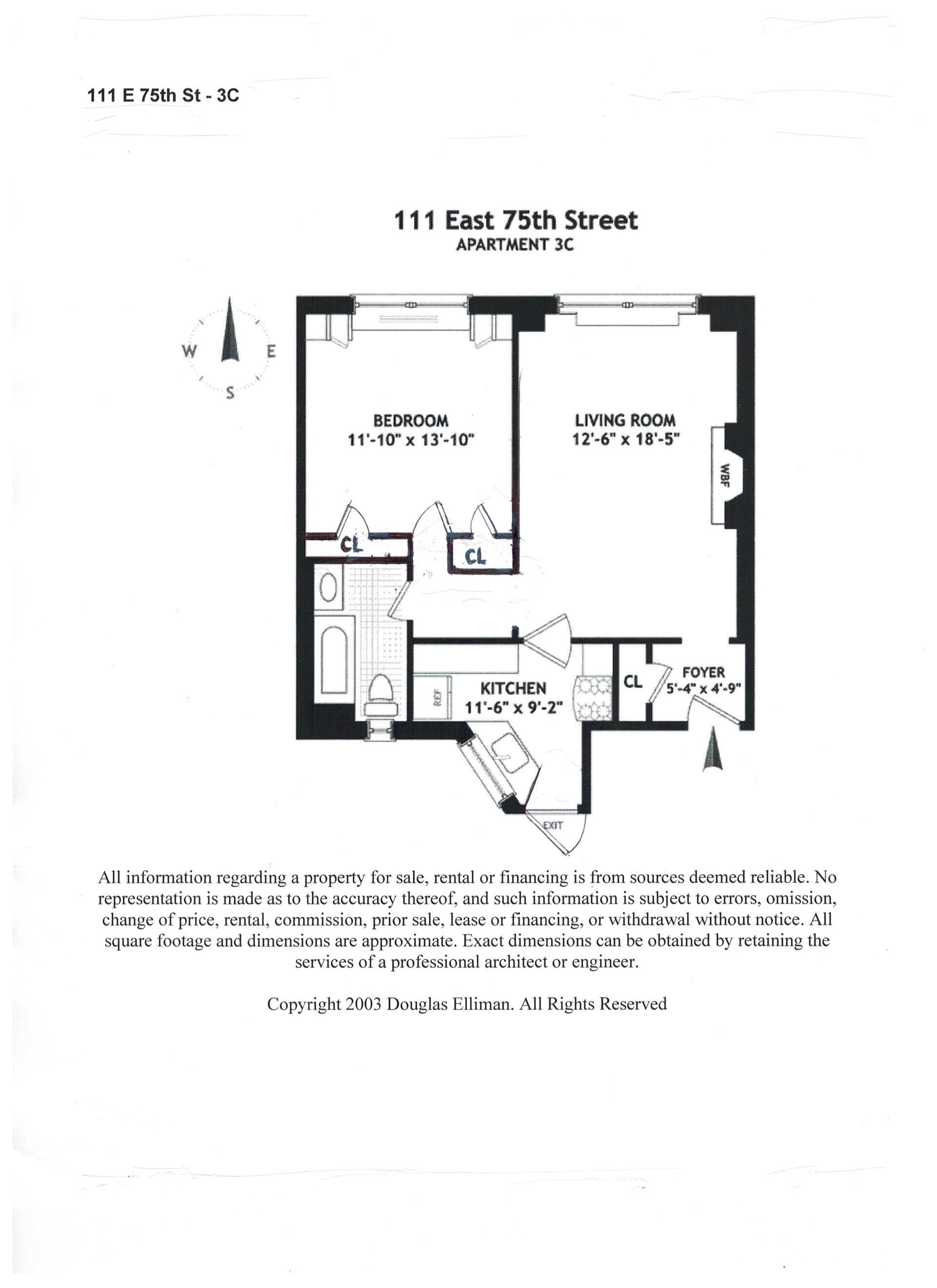 Floor plan of 111 East 75th St, 3C - Upper East Side, New York