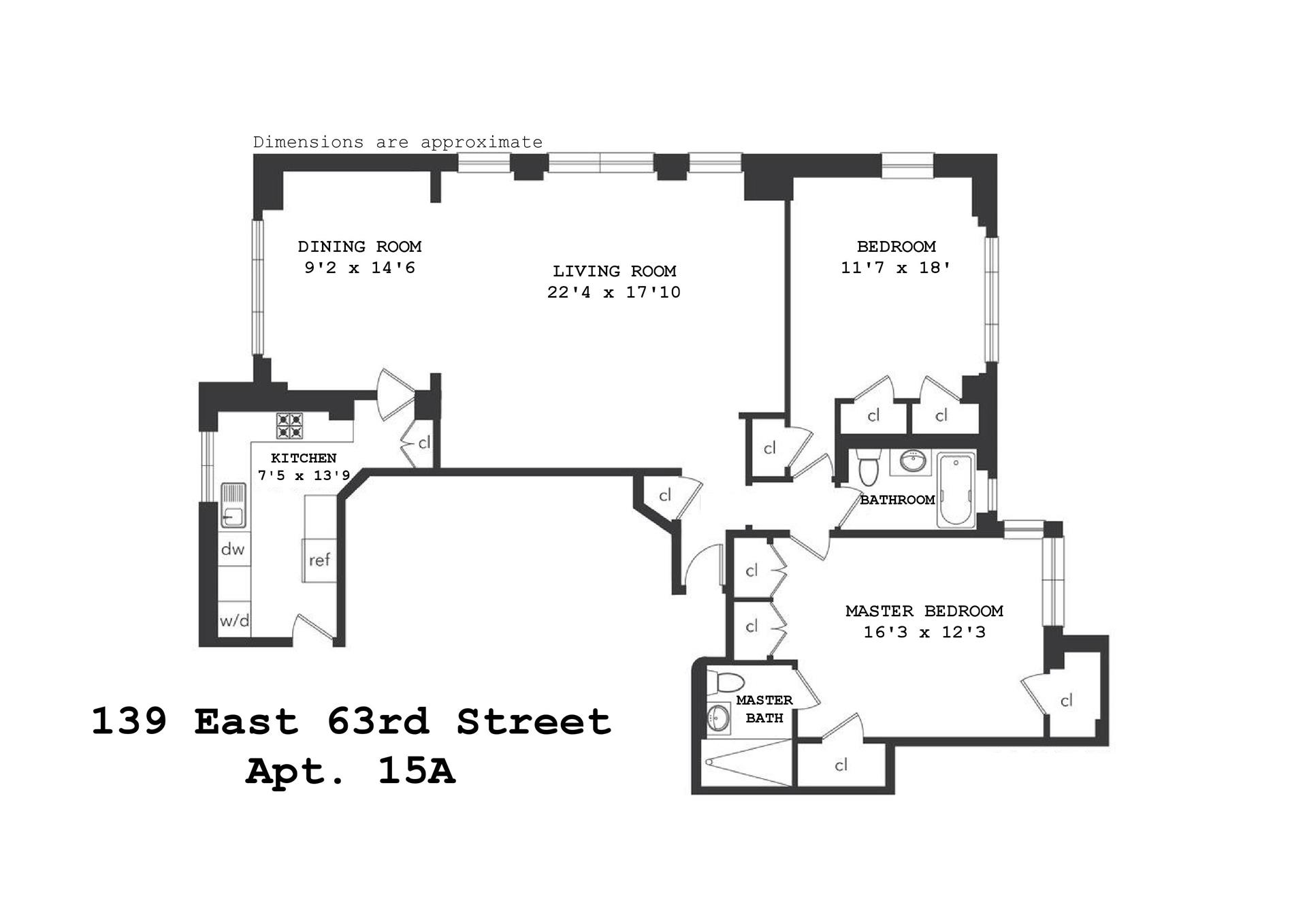Floor plan of Beekman Townhouse, 139 East 63rd St, 15A - Upper East Side, New York