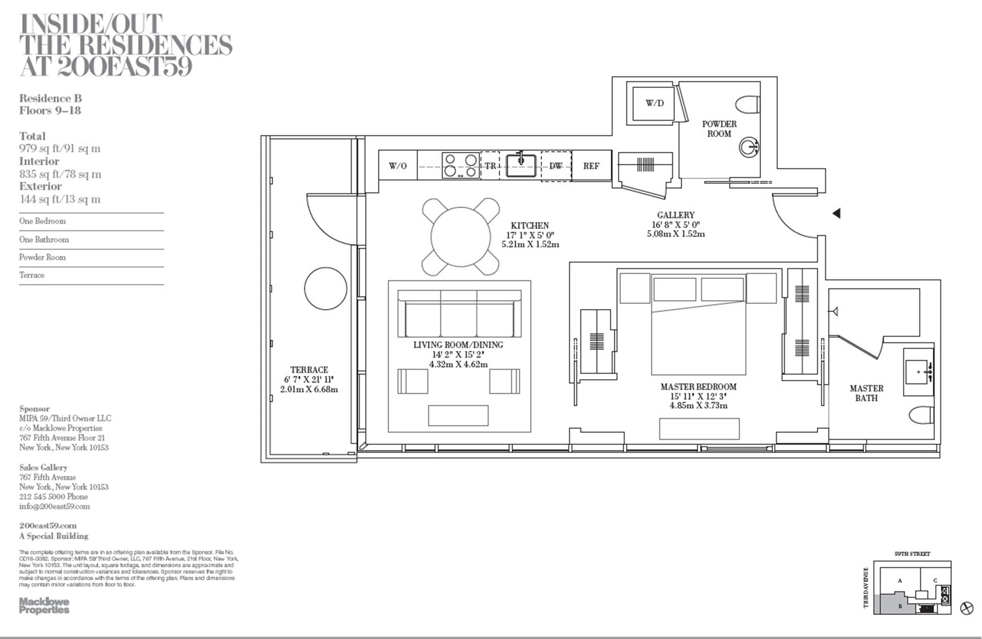 Floor plan of 200 East 59th St, 15B - Midtown, New York