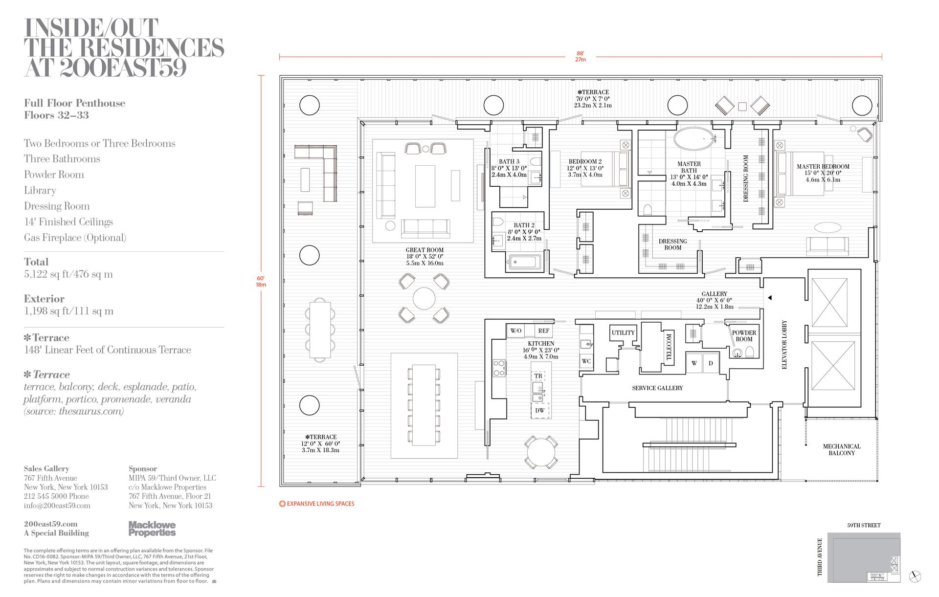 Floor plan of 200 East 59th St, PH32 - Midtown, New York