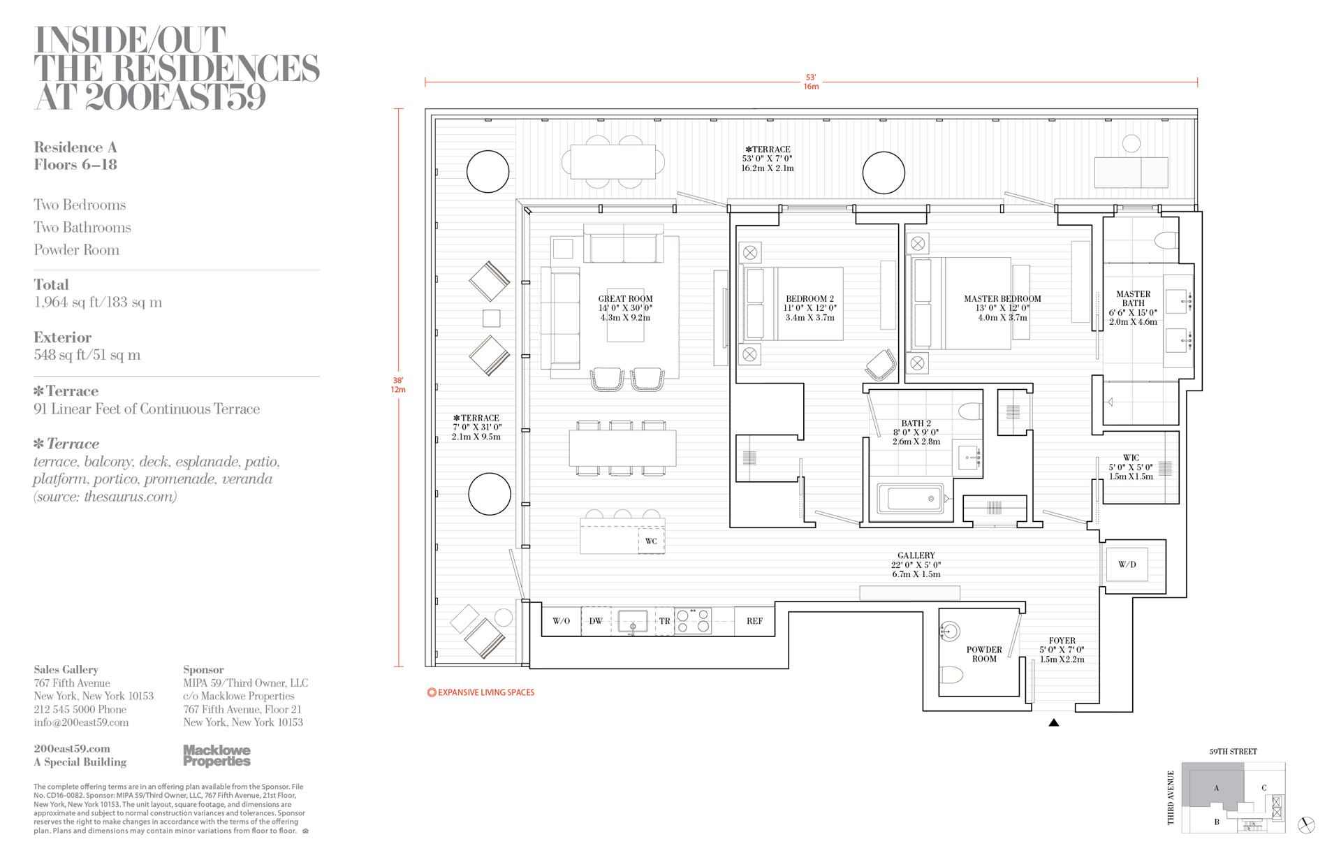 Floor plan of 200 East 59th St, 14A - Midtown, New York