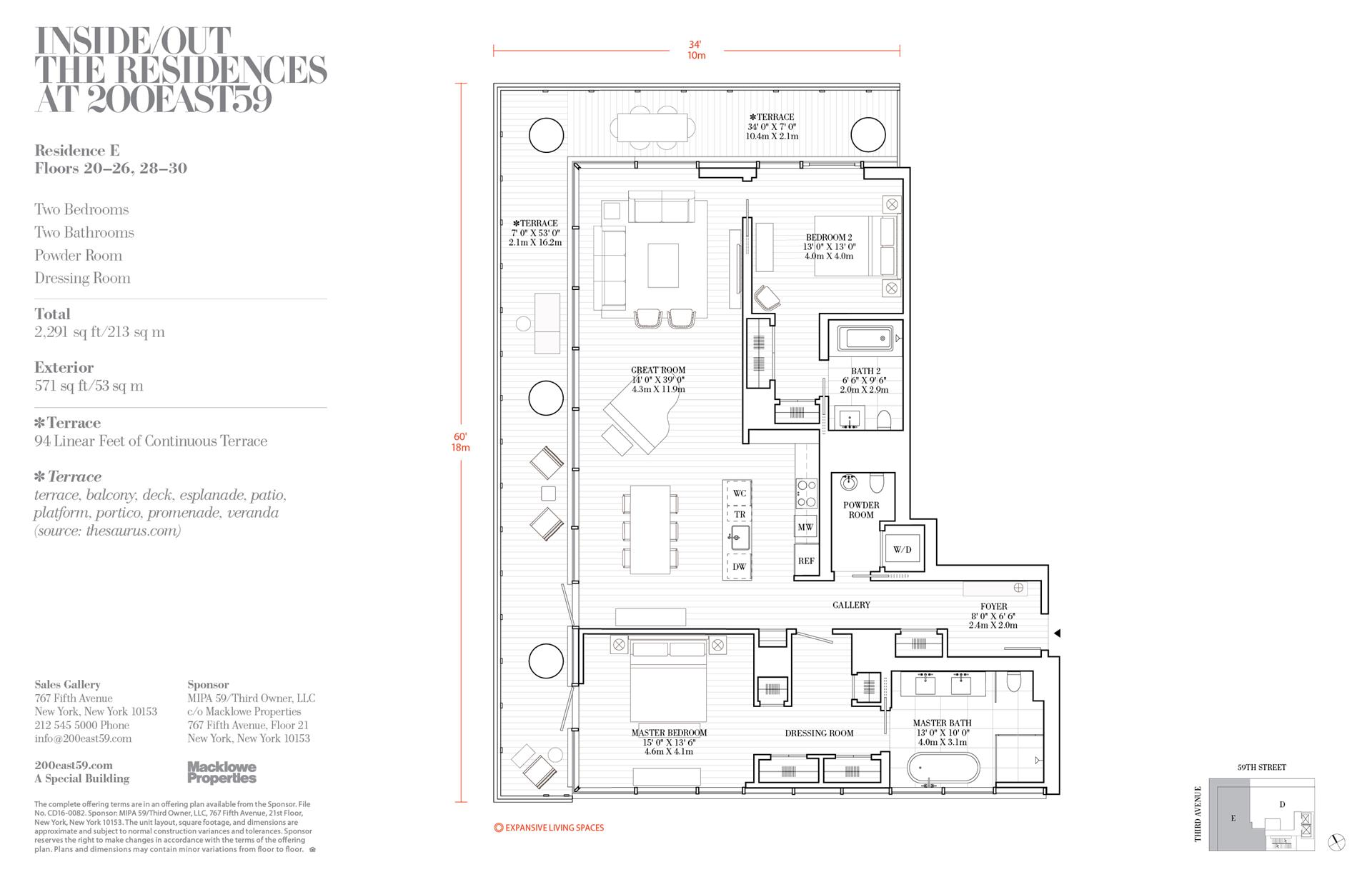 Floor plan of 200 East 59th Street, 21E - Midtown, New York