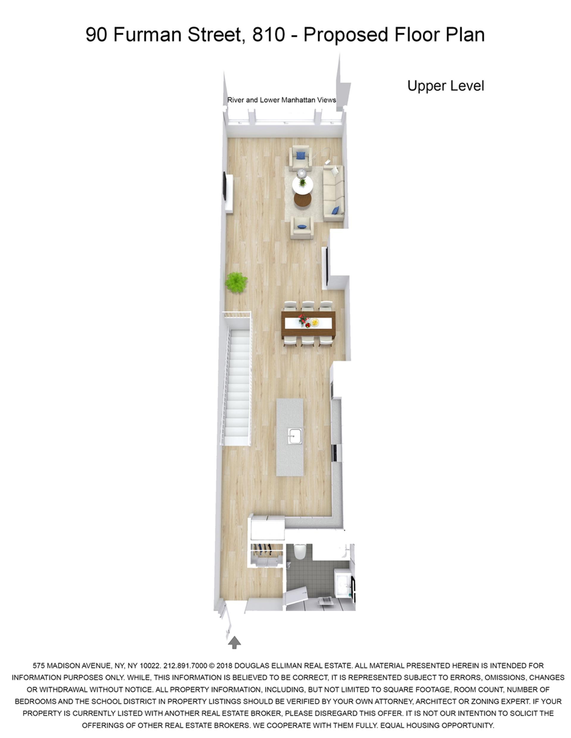 Floor plan of Pierhouse at Brooklyn Bridge, 90 Furman St, N810 - Brooklyn Heights, New York