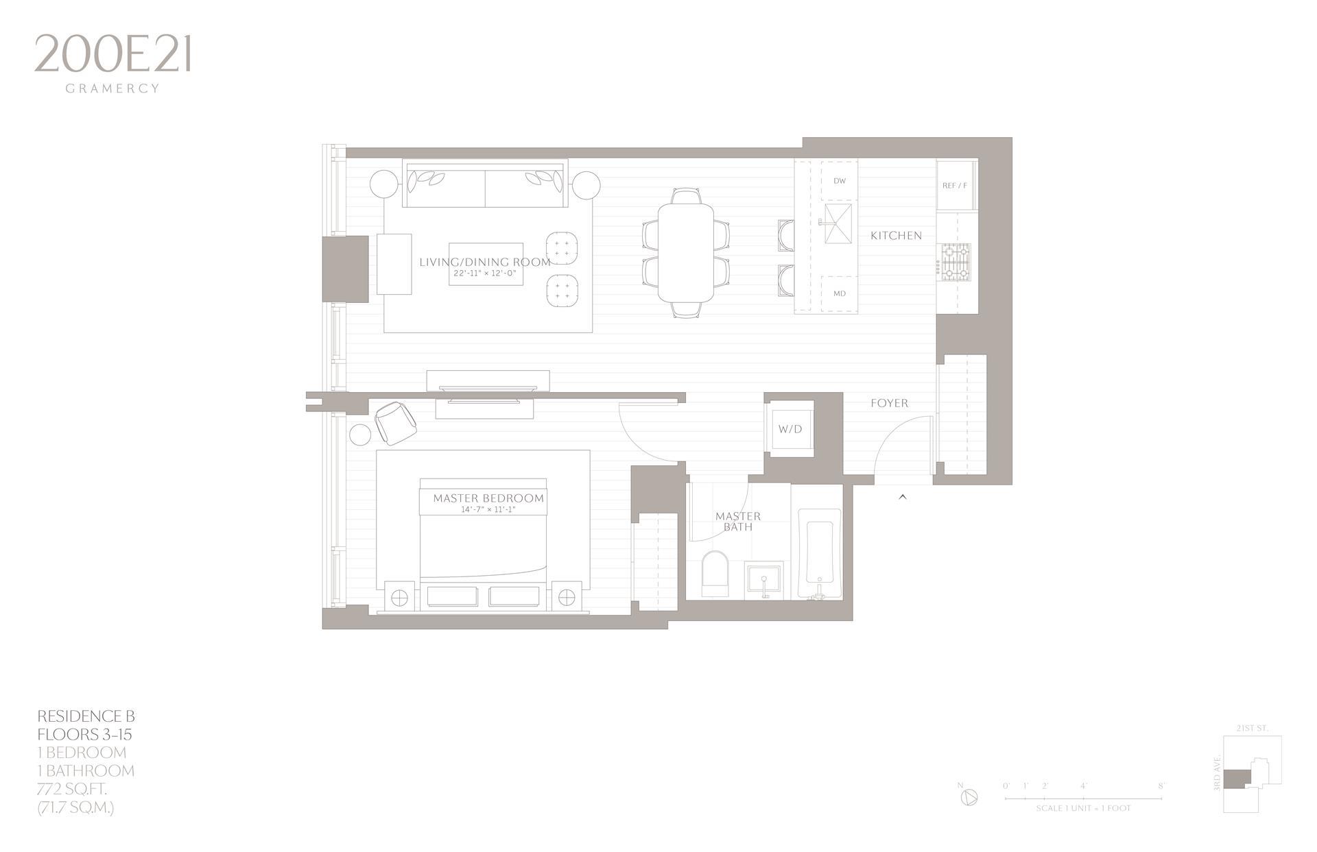 Floor plan of 200 East 21st St, 11B - Gramercy - Union Square, New York