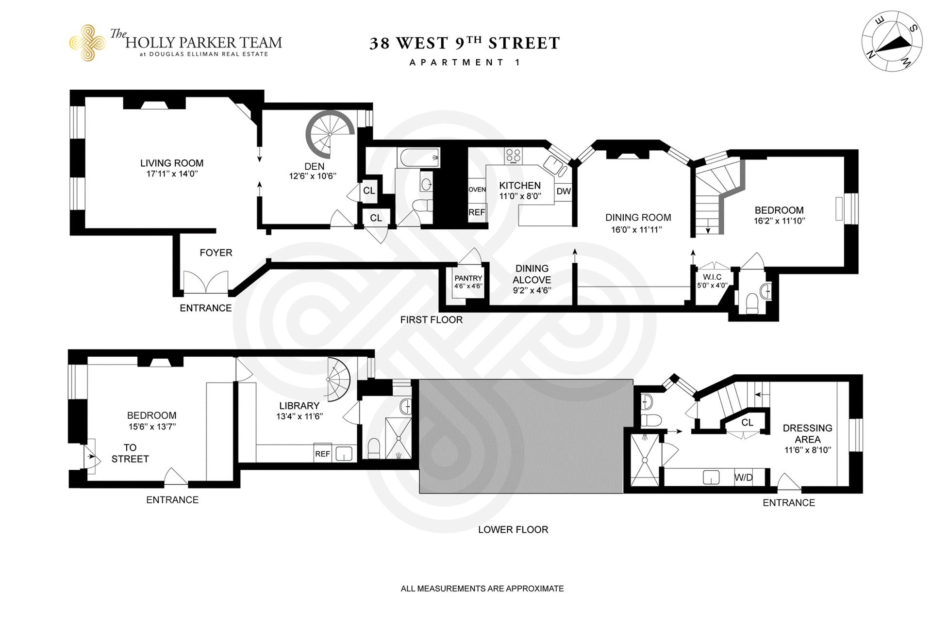 Floor plan of The Portsmouth, 38 West 9th St, 1 - Greenwich Village, New York