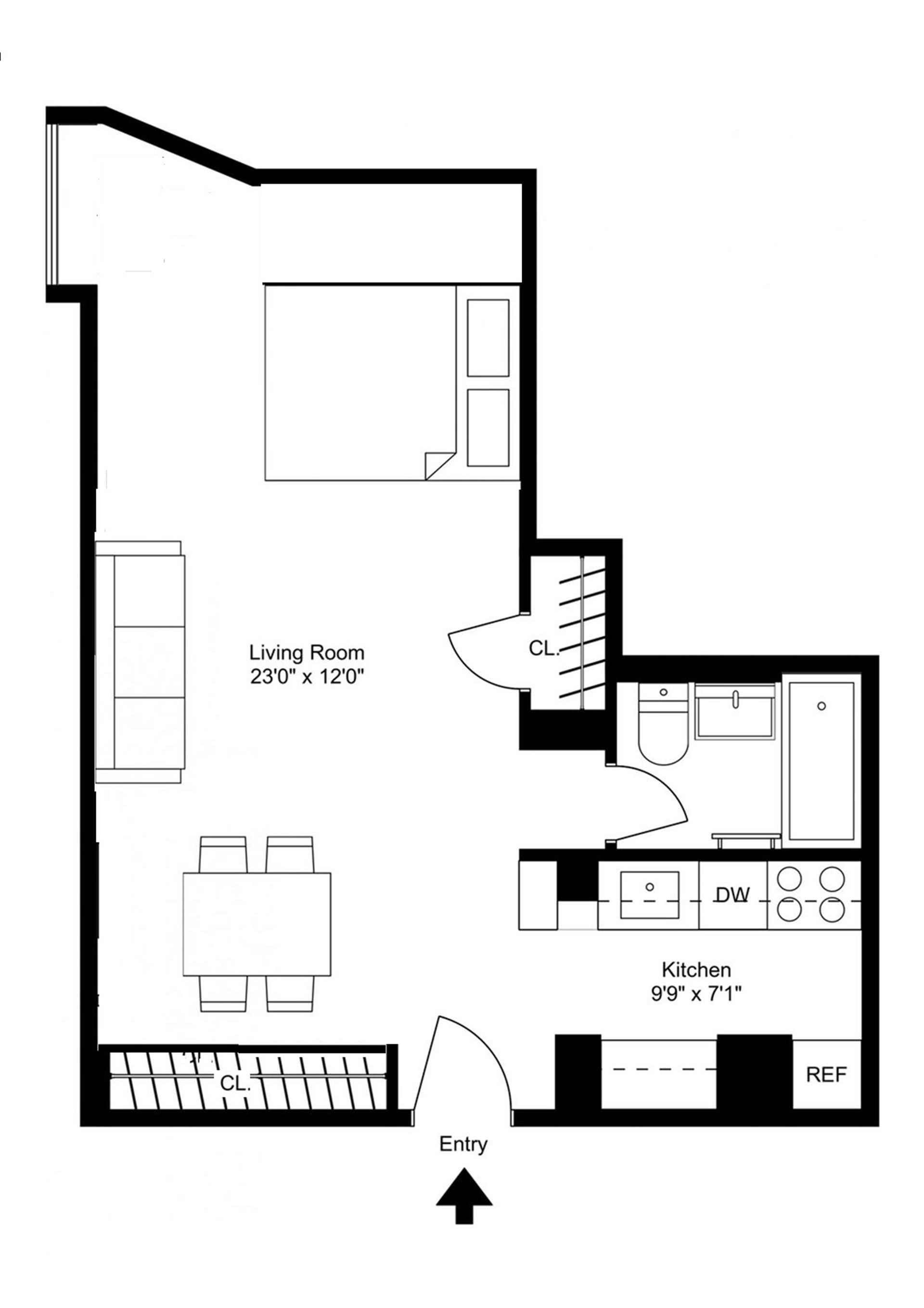 Floor plan of 720 Greenwich Street, 2M - West Village - Meatpacking District, New York