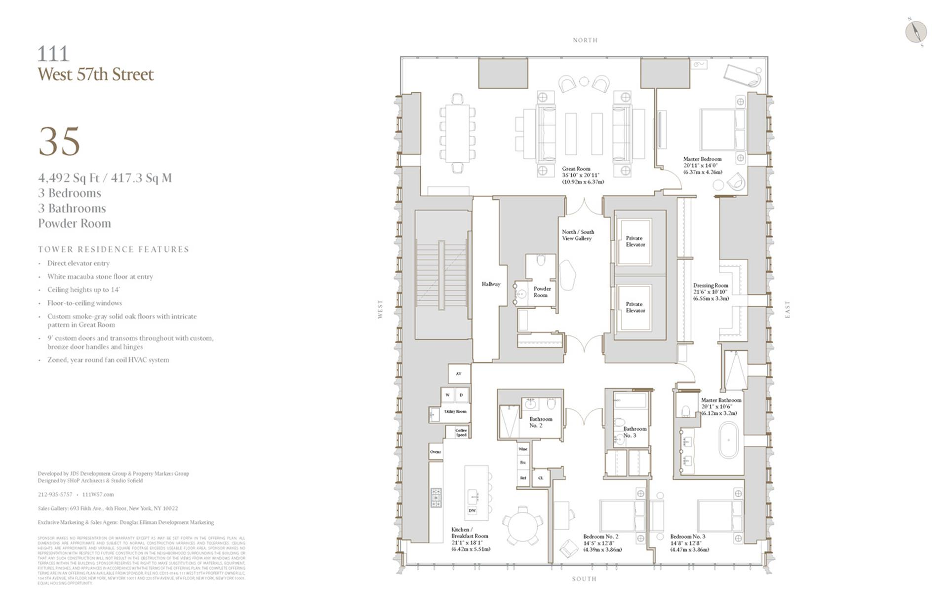 Floor plan of 111 West 57th Street, 35 - Central Park South, New York