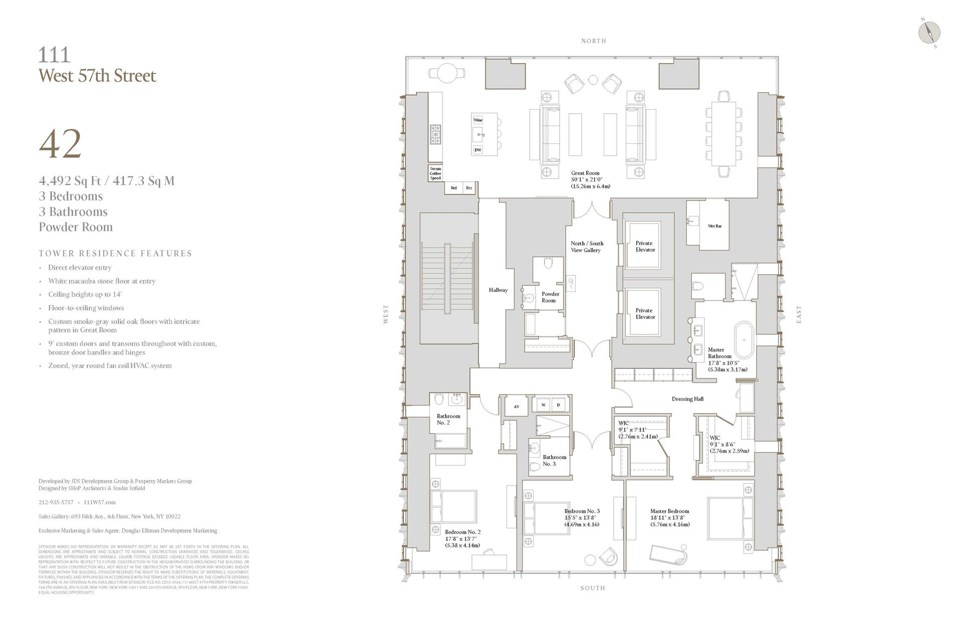 Floor plan of 111 West 57th St, 42 - Central Park South, New York