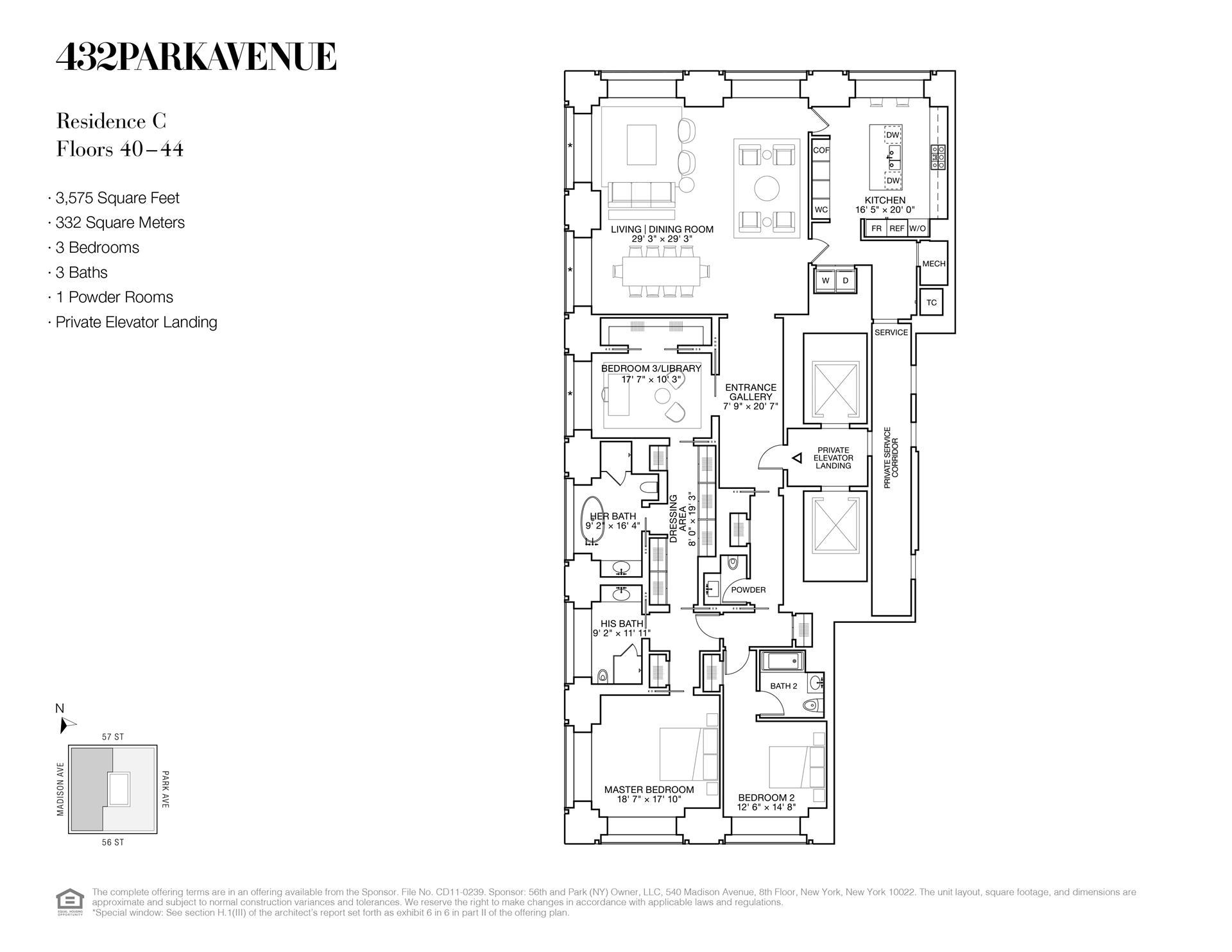 Floor plan of 432 Park Avenue, 41C - Midtown, New York