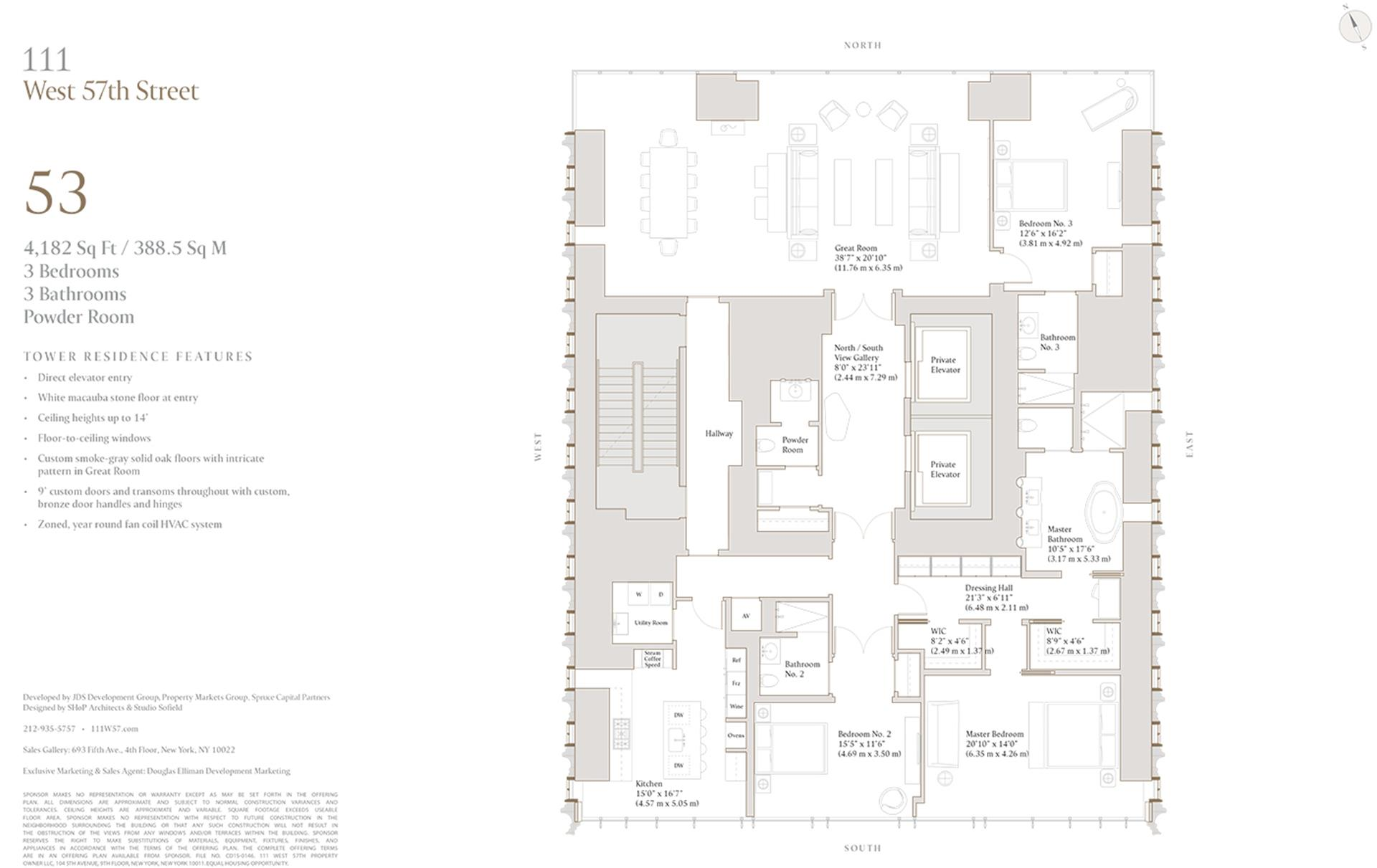 Floor plan of 111 West 57th St, 53 - Central Park South, New York