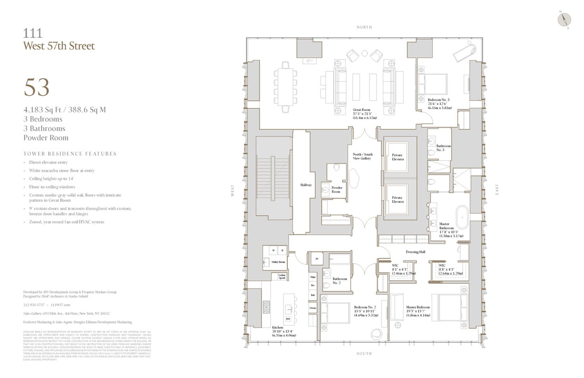 Floor plan of 111 West 57th Street, 53 - Central Park South, New York
