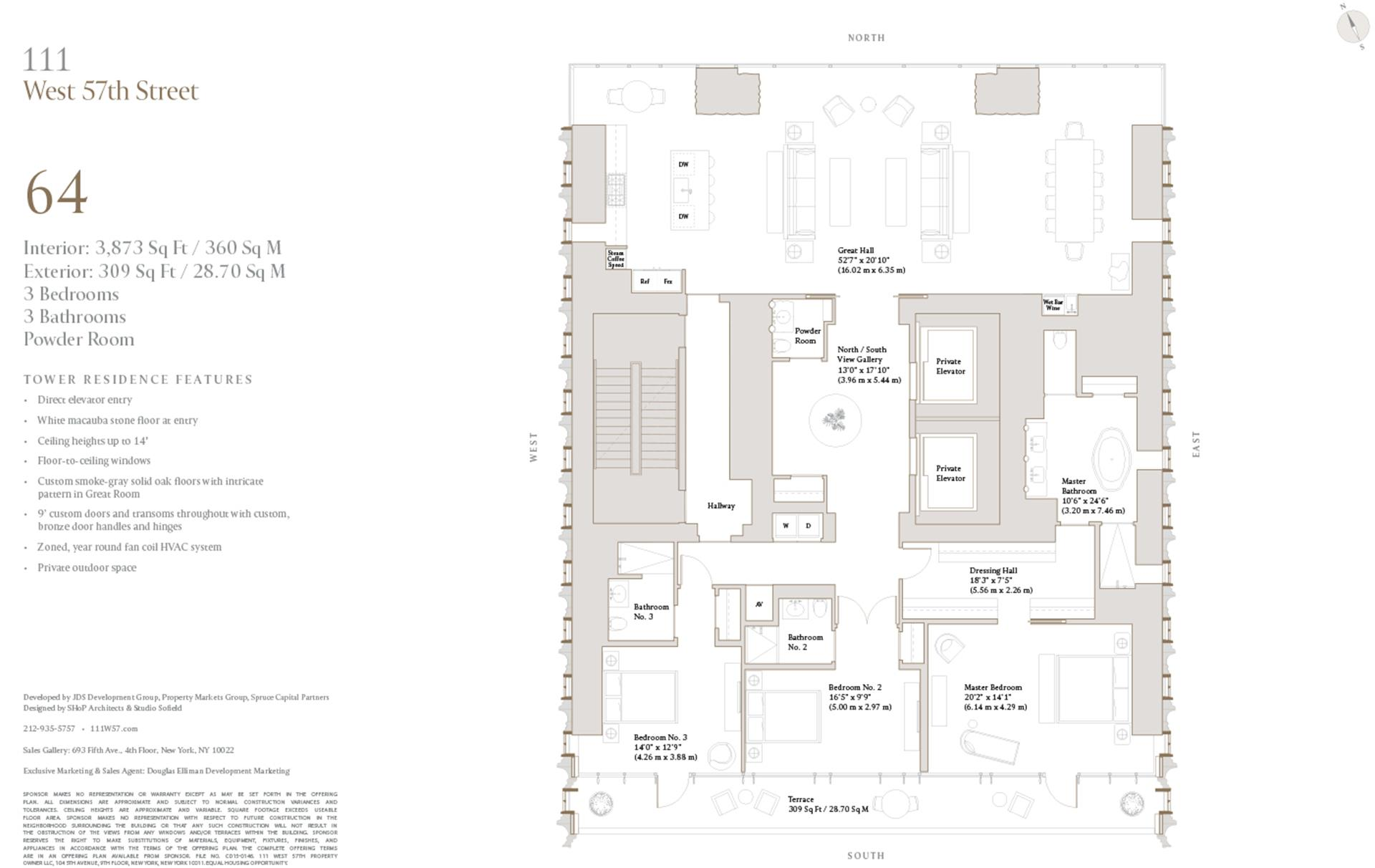 Floor plan of 111 West 57th St, 64 - Central Park South, New York