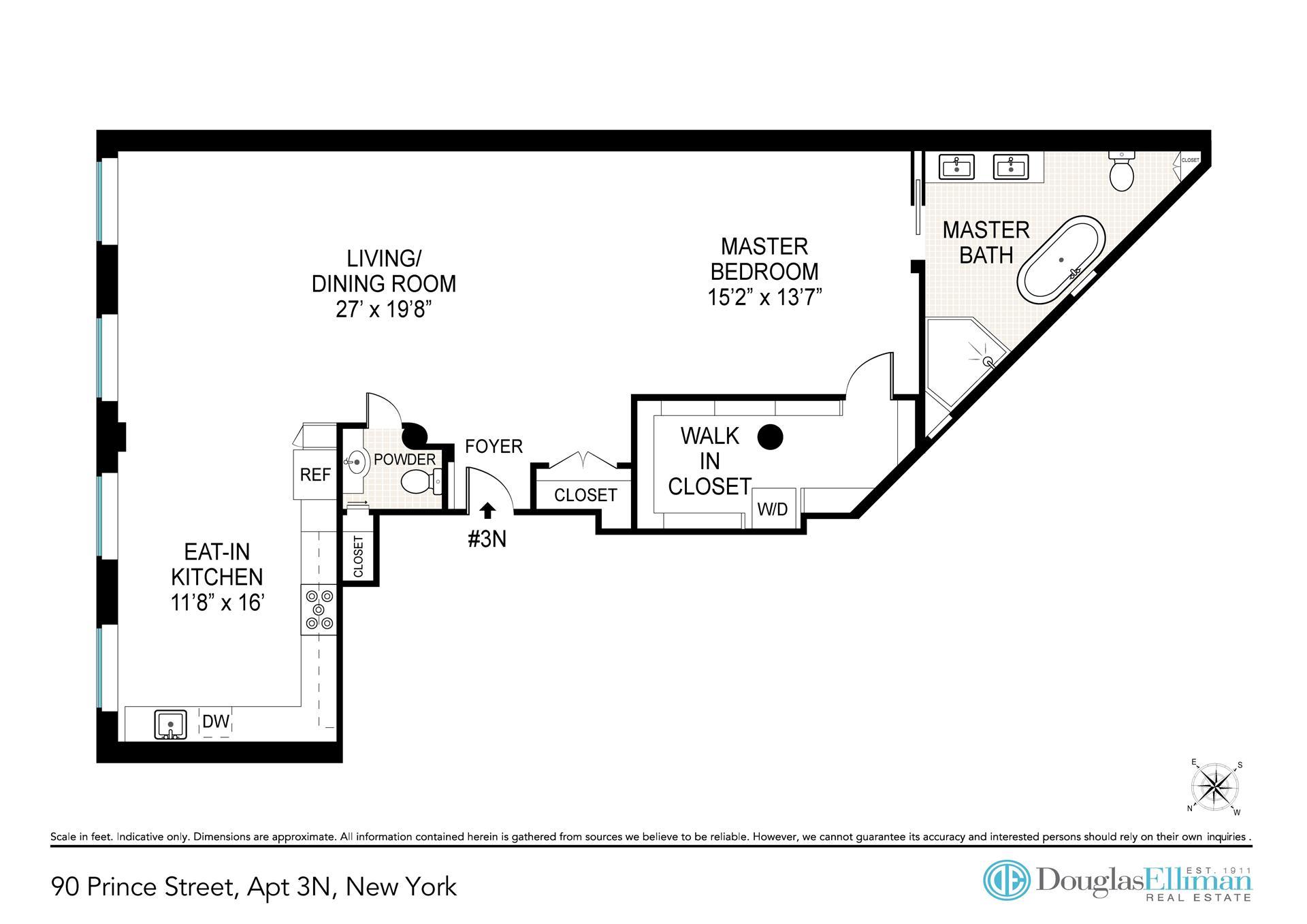 Floor plan of Unique Soho Loft, 90 Prince St, 3N - SoHo - Nolita, New York