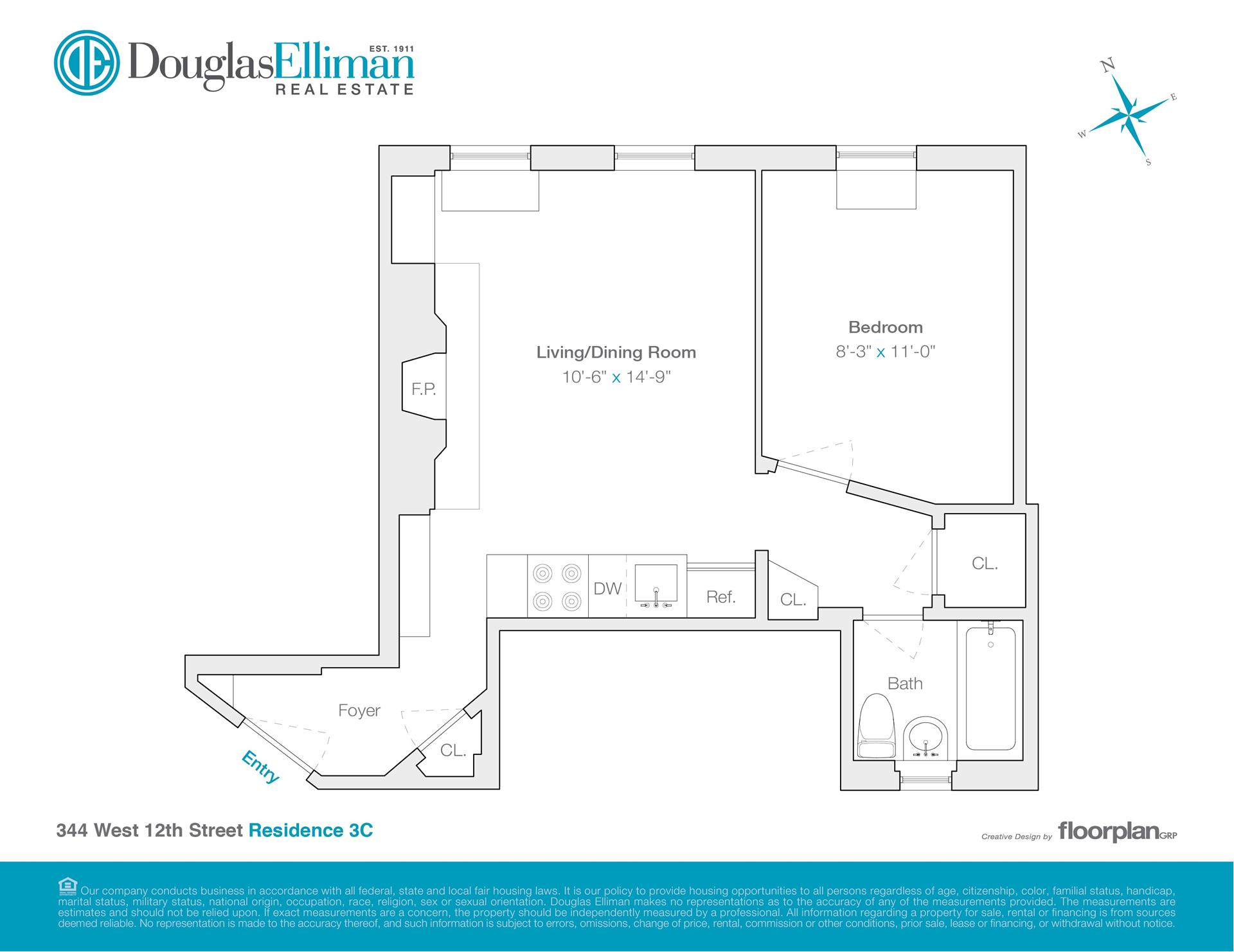 Floor plan of 344 W. 12 ST. OWNER, 344 West 12th St, 3C - West Village - Meatpacking District, New York