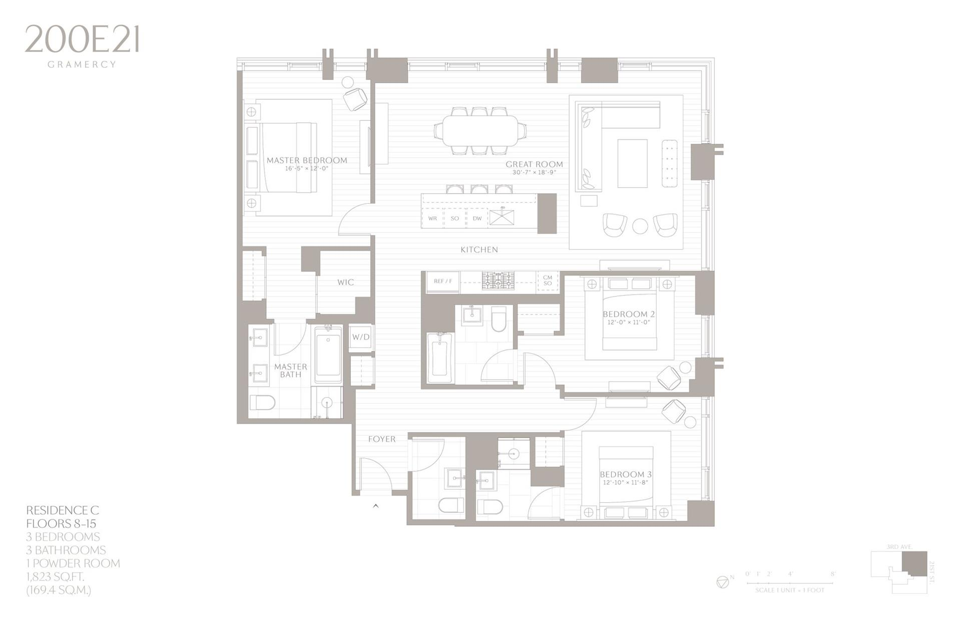 Floor plan of 200 East 21st Street, 10C - Gramercy - Union Square, New York