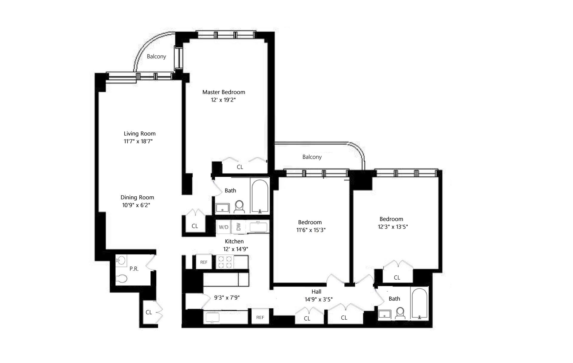 Floor plan of 343 East 74th St, 6JK - Upper East Side, New York