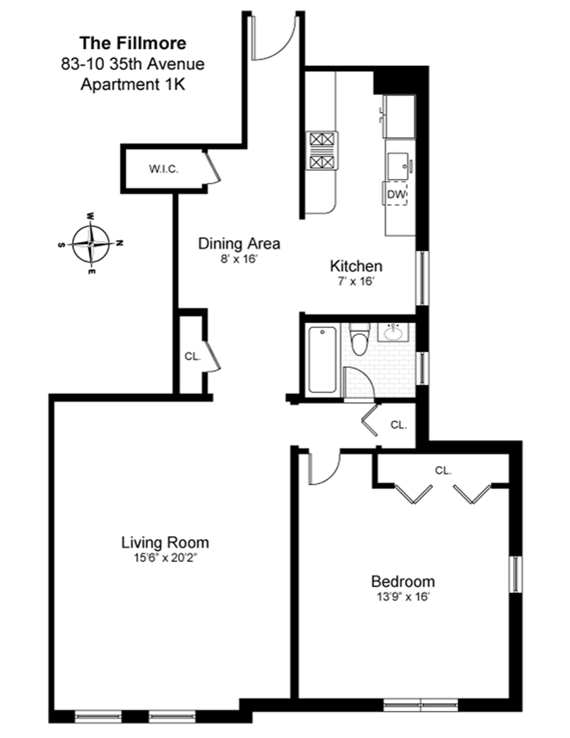 Floor plan of 83-10 35th Avenue, 1K - Jackson Heights, New York